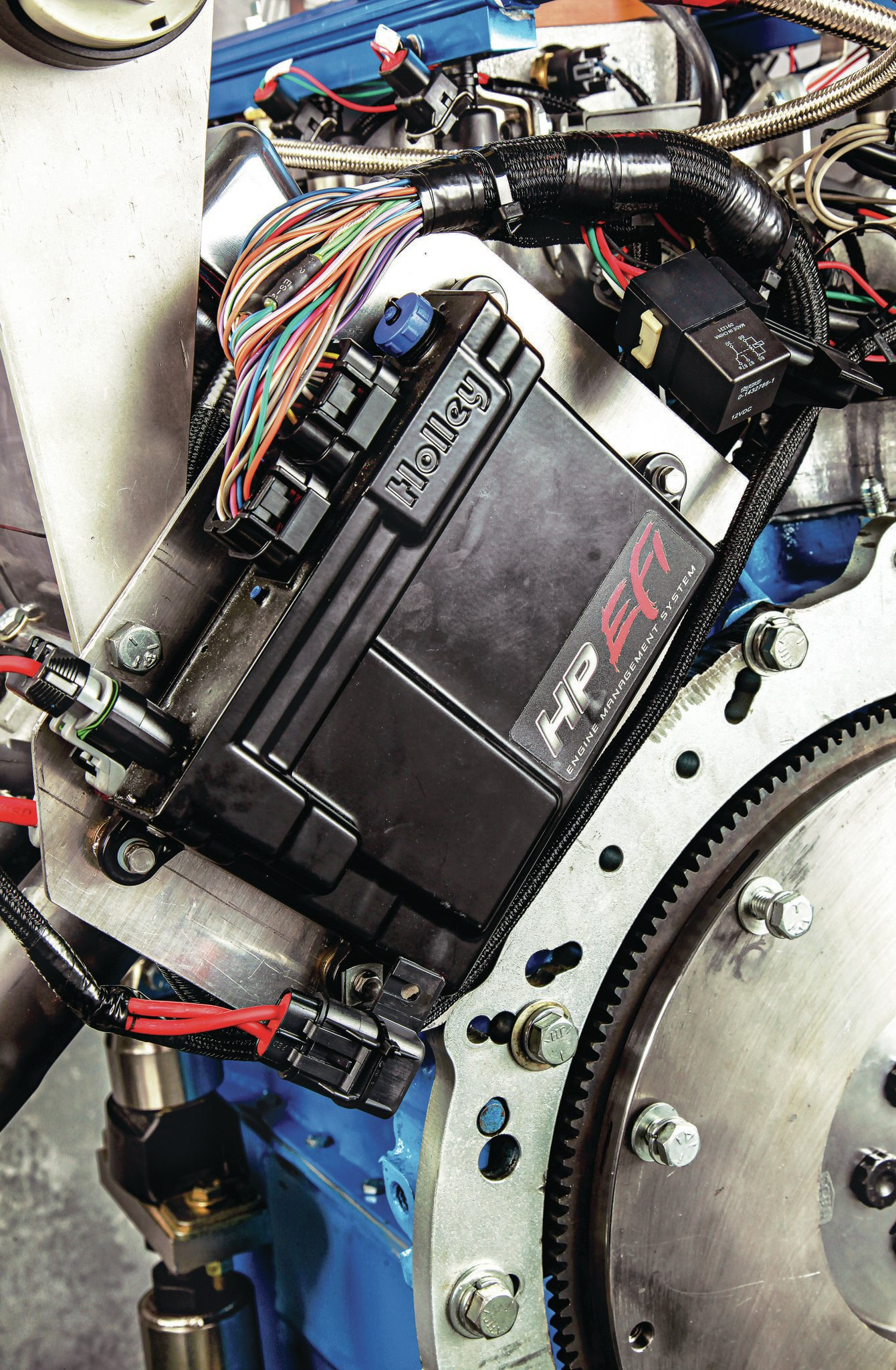 Holley EFI takes control of the spark timing and fuel-delivery functions.