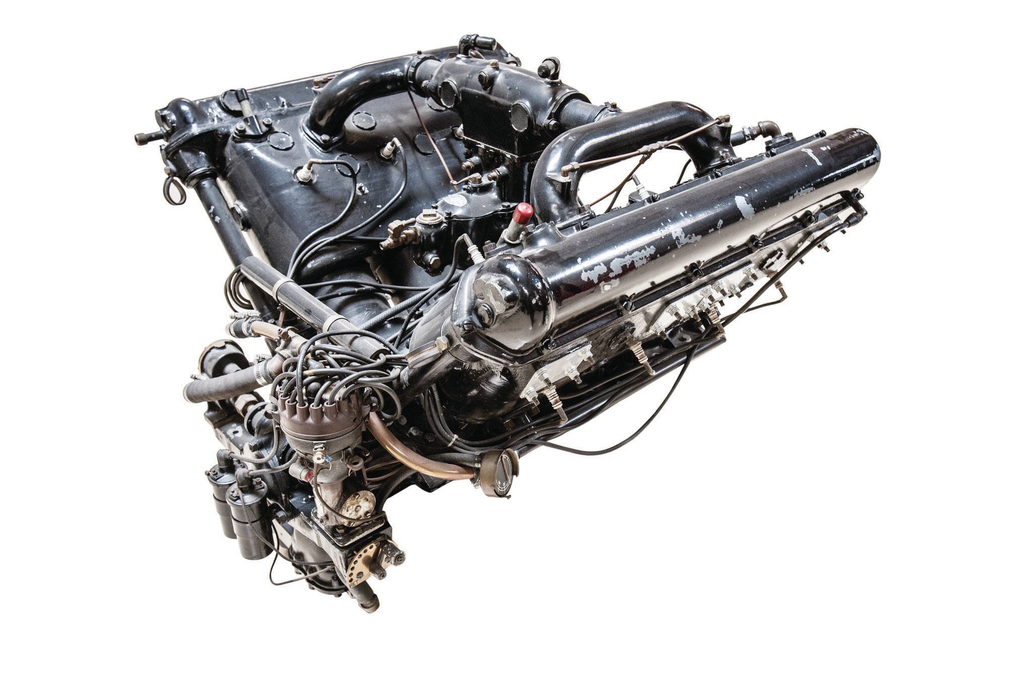 Here's what the Hispano-Suiza engine looked like in full V8 form. This one is in Jay Leno's collection.