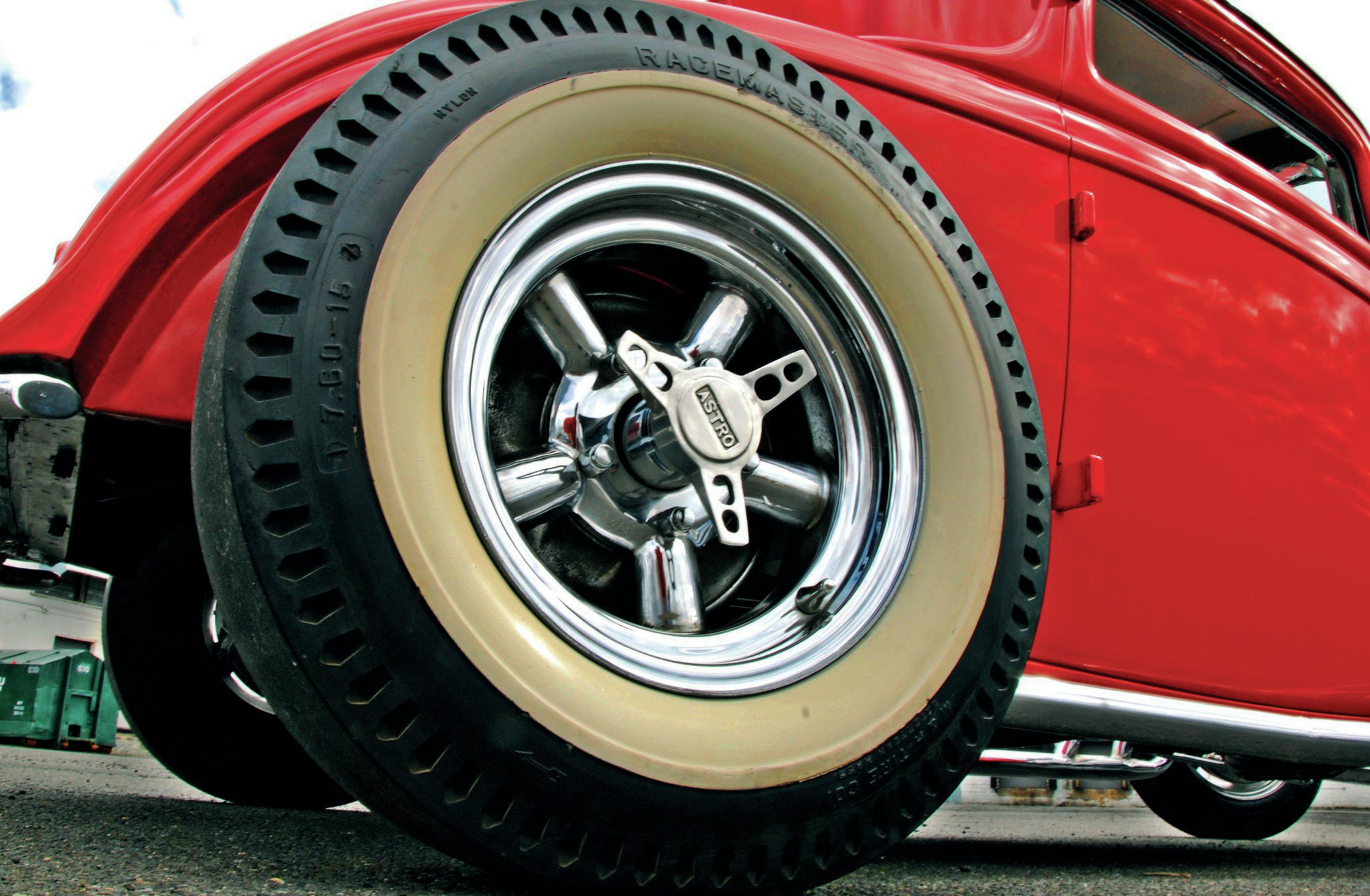 These Astro wheels were the last of several rims used on the coupe over the years. The Racemaster slicks out back and front-mounted Sport Special bias plies were installed in the late '50s and are still in usable shape.