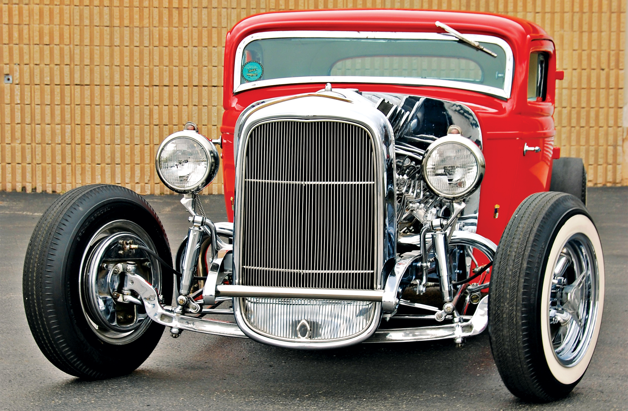 When most guys channeled their rides, they usually cut down the front grille in proportion to the body modification. Not Andy. He loved the look of the original fullsize front end piece. He's known as the first customizer to make the fullsize grille fit and look good on a heavily channeled rod. The triple chrome plate helped Andy's grille stand out from the competition.
