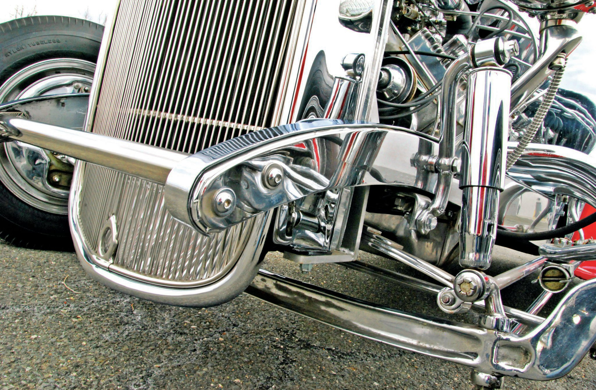 Andy tried to make subtle changes every year during the coupe's show car period. In the early '60s he decided to make caps for the front frame, and of course have them chromed. It complemented the already fully chromed front suspension. Airplane shocks finish the look and add a heavy-duty touch. Amazingly, this is all 50-year-old chrome.