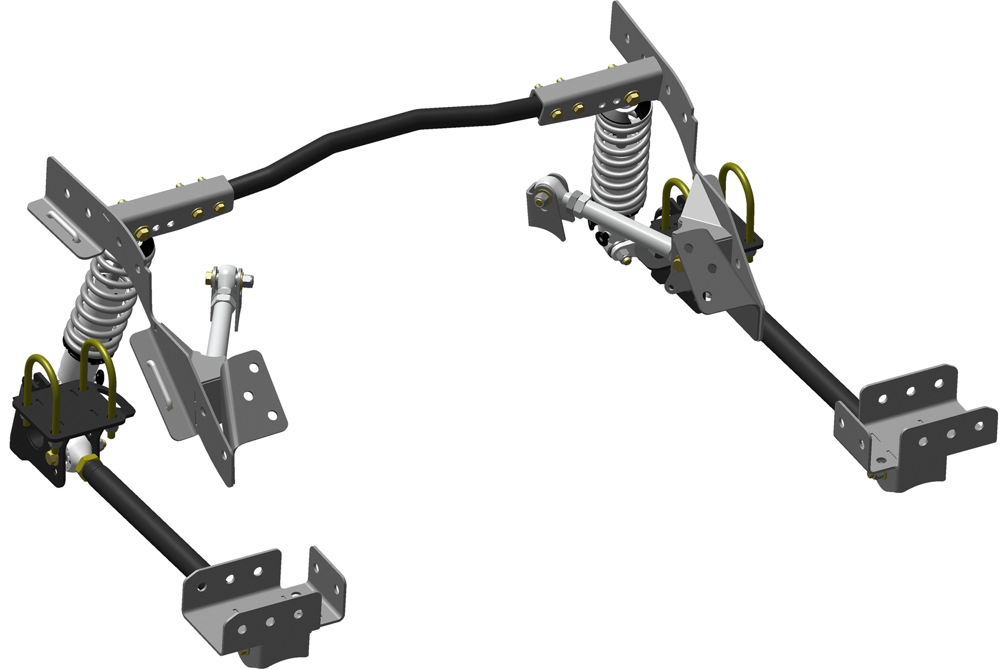 This is the Chris Alston Chassisworks g-Link (Pivot) Coil-Over Suspension for Chevy II, one of many variations of Pro Touring Rear Suspension Systems.