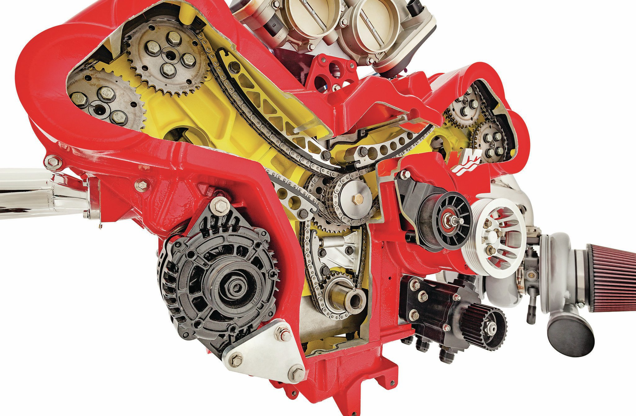 The chain-driven DOHC setups utilize two cams per cylinder head, with two intake and two exhaust valves per chamber. Rather than direct-acting cam lobes, a Formula 1–style finger-follower valvetrain design multiplies cam lobe lift to reduce cam lobe unit loading.
