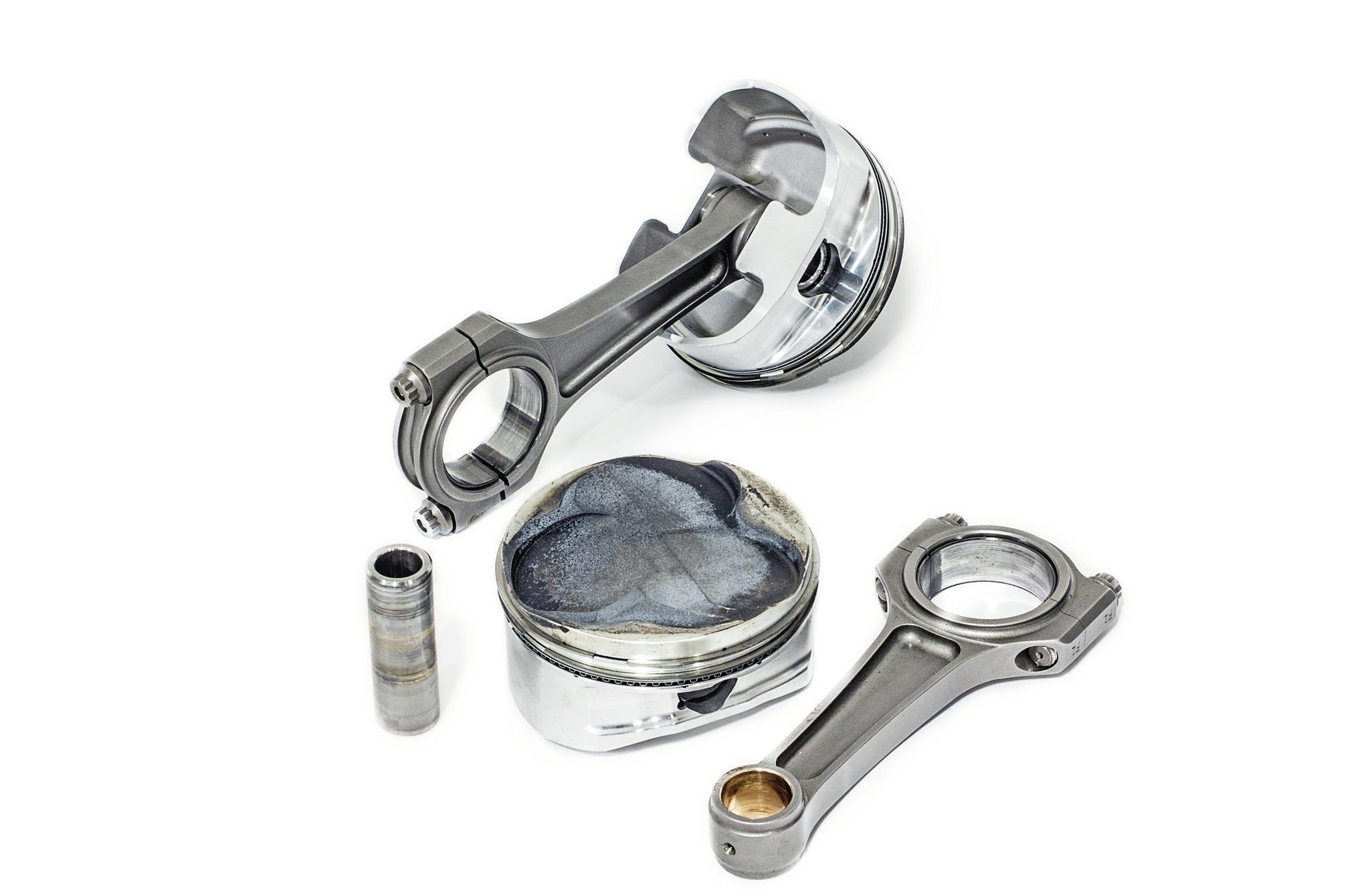 CP pistons retained on floating small-block Chevy-style 0.927 tool-steel pins by bulletproof round-wire retainers are swung by Crower billet-steel rods. Total Seal provided the lightweight 1mm–1mm–3mm ring pack. The rod/stroke ratio comes out to a desirable 1.9:1, which makes for good piston dwell time, low piston speeds, and—in theory—superior top-end performance.