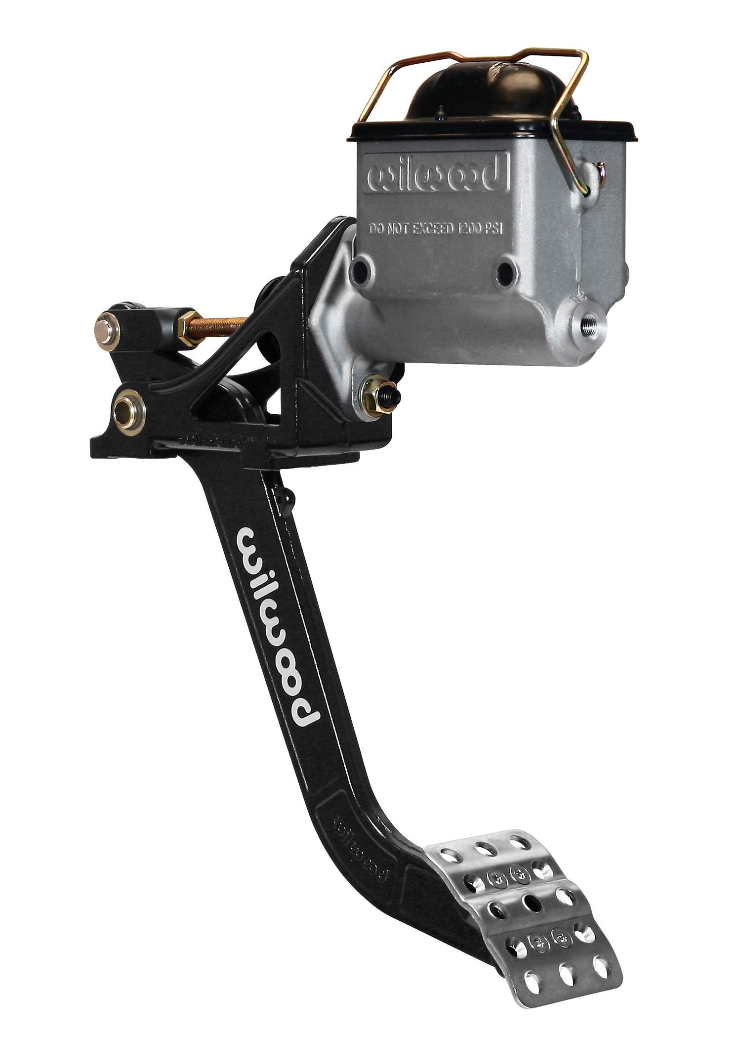 The Wilwood brake or clutch pedal shown with their high-volume aluminum master cylinder.