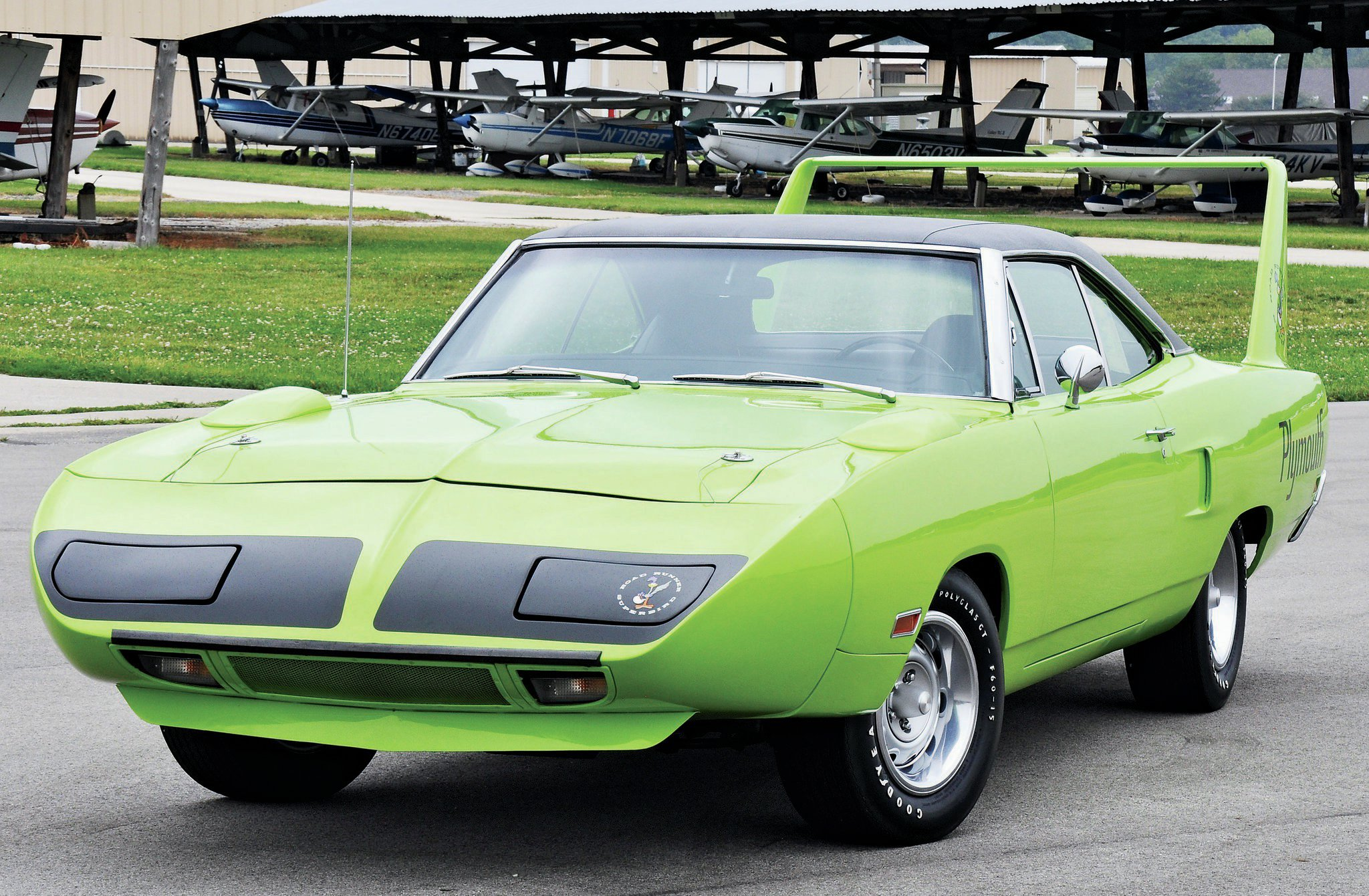 Looking good in Lime Light, the '70 Superbird is an unrestored original car purchased by Dale Laur a few years ago with only 11,390 miles on the clock. The beautiful wing car is powered by a 426 Hemi with a four-speed transmission.