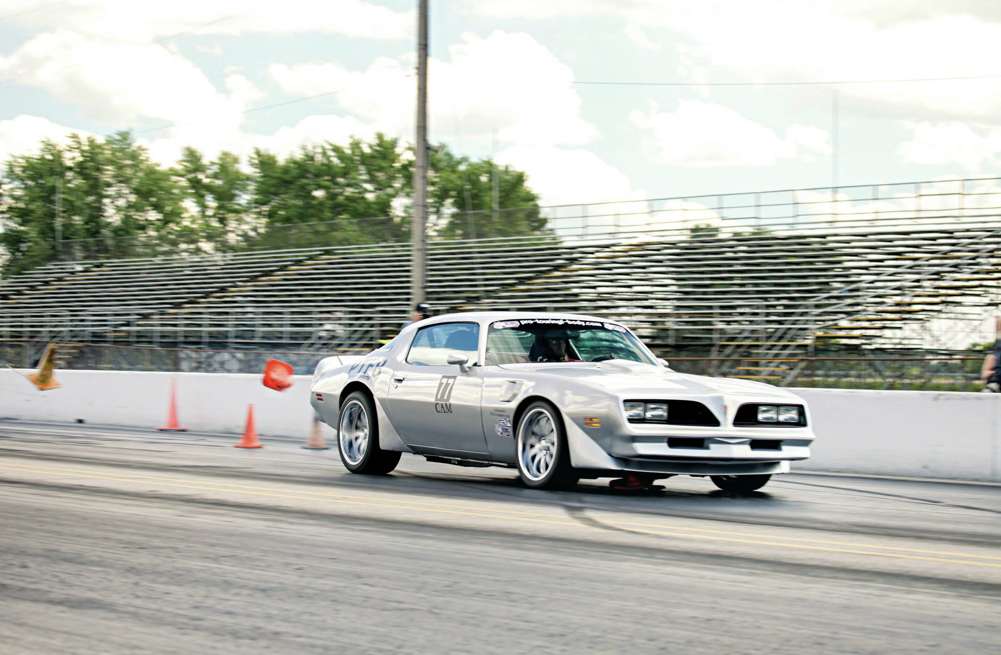 Travis Hartwell won the Speed-Stop last year and almost repeated, losing only to Popp's amazing average time. The Firebird is Pontiac powered, so kudos for being a true believer. This particular pass he didn't quite get stopped in time—note the flying cone.
