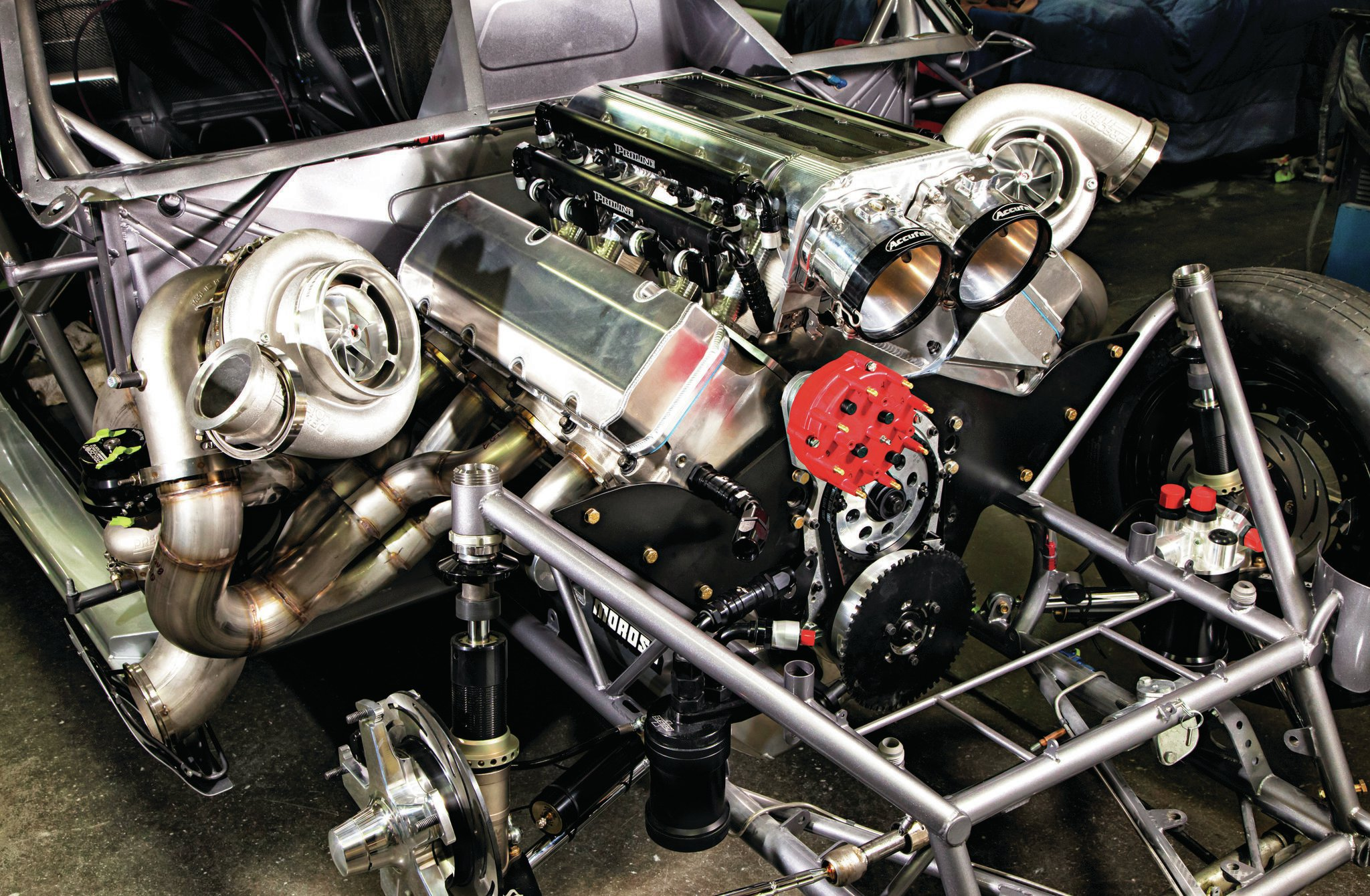 The power in Larson's S-10 comes from a Pro Line Racing–built 620ci, 5-inch-bore-spacing, Brodix big-block-Chevy-based, aluminum engine with Brodix heads and twin turbos. Power estimates put it above 2,500 hp on alcohol.