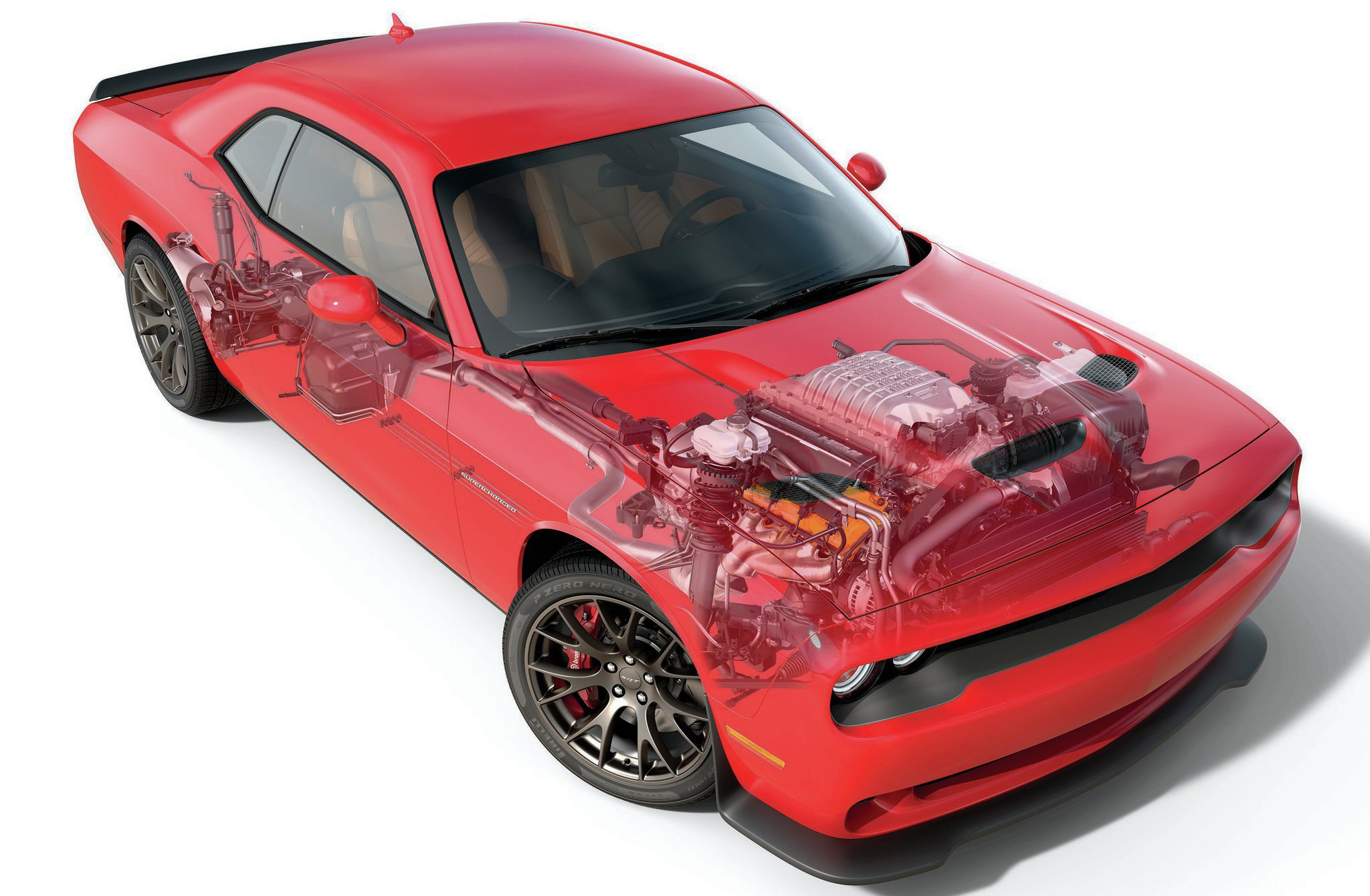 So far, the Challenger SRT8 is the only car available with the supercharged Hellcat option. Let's hope the Hellcat option box pops on Charger and Grand Cherokee order forms soon.