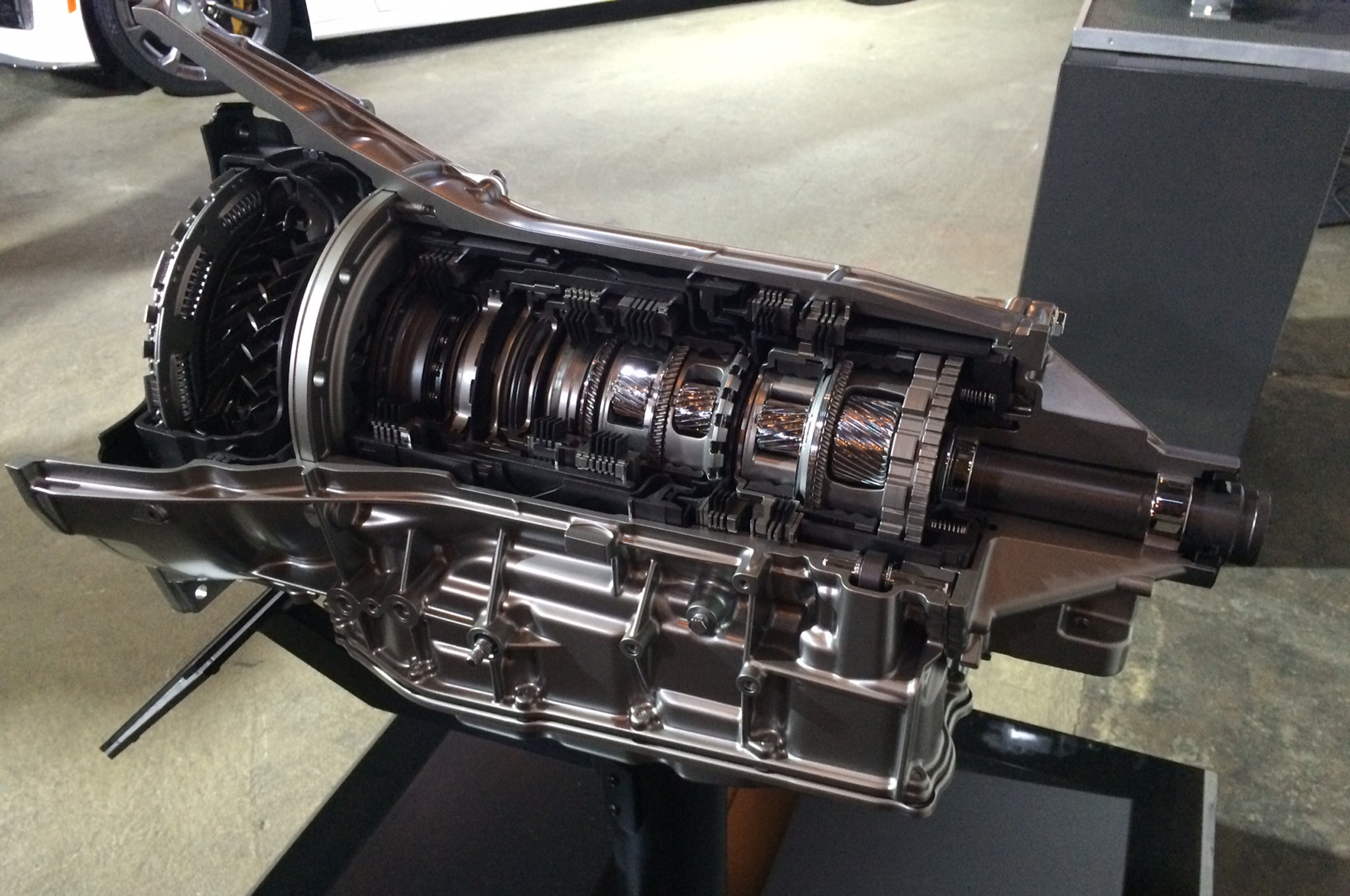 """The transmission case and the tail-shaft are unique for this front-mounted CTS-V application, but everything inside is shared with the latest Corvette transaxle. Expect this """"8L"""" line of transmissions to proliferate with lower-number suffixes as lighter-duty versions gradually replace GM's six-speed trannies. This transmission is 28 pounds lighter than its six-speed predecessor."""