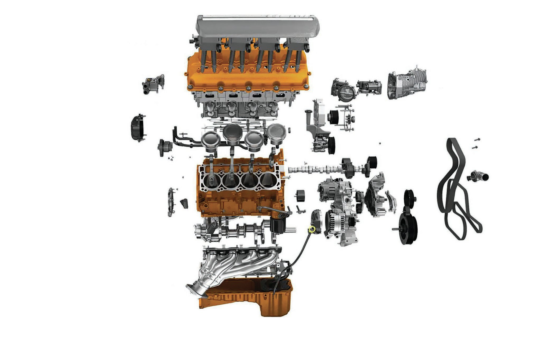 According to Chrysler, 91 percent of Hellcat's components are new compared to the 6.4L Hemi. Carefully studying this cutaway reveals a concave dish profile on the piston crowns.