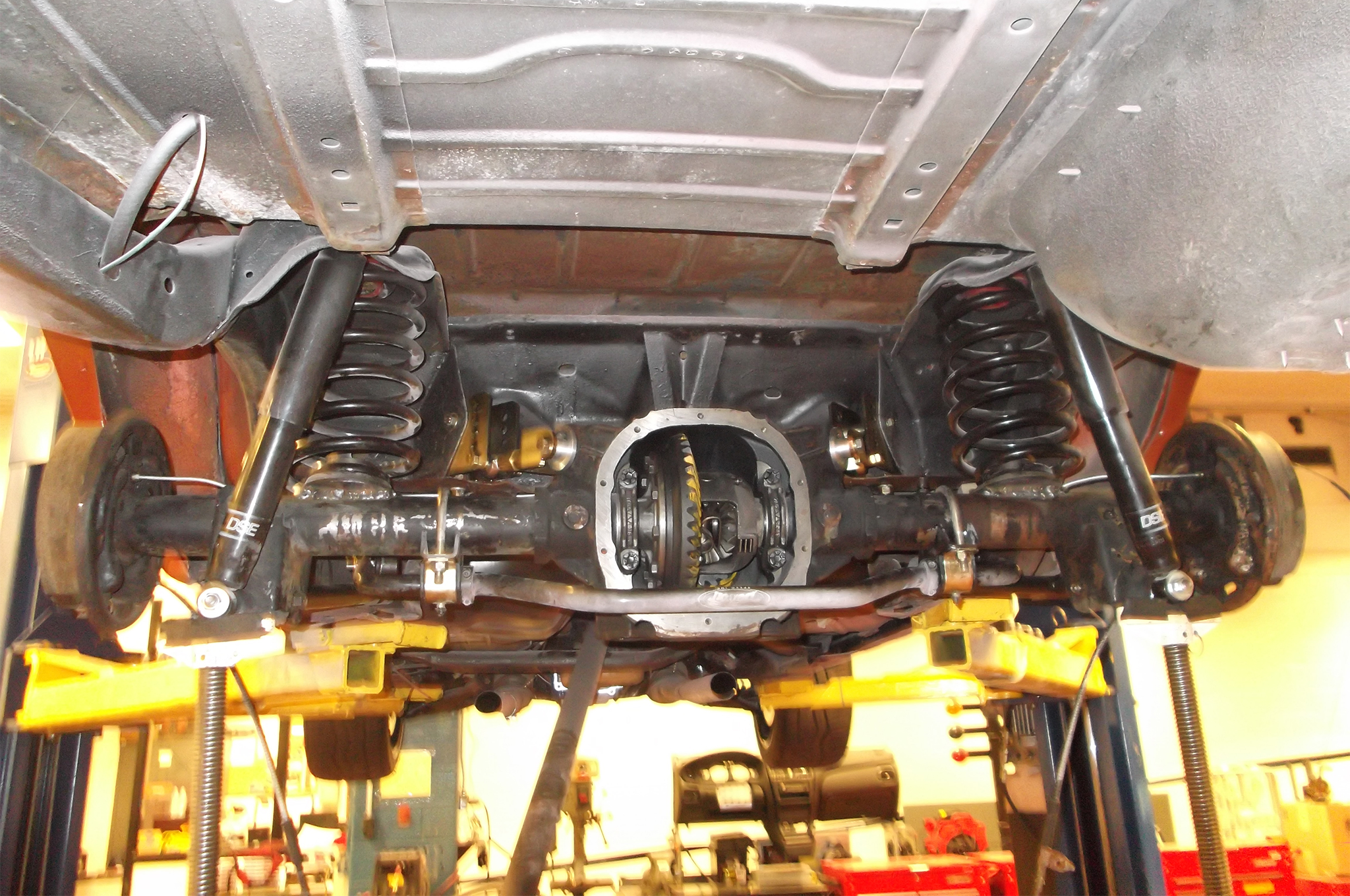 How To Swap An 88 Inch Ford Rear Into A Gm G Body Hot Rod Network 94 Explorer Engine Diagram Knock Here Is Build In Progress Using The Baseline Suspensions Kit With Detroit Speed Lower Control Arms Springs Shocks And Sway Bar