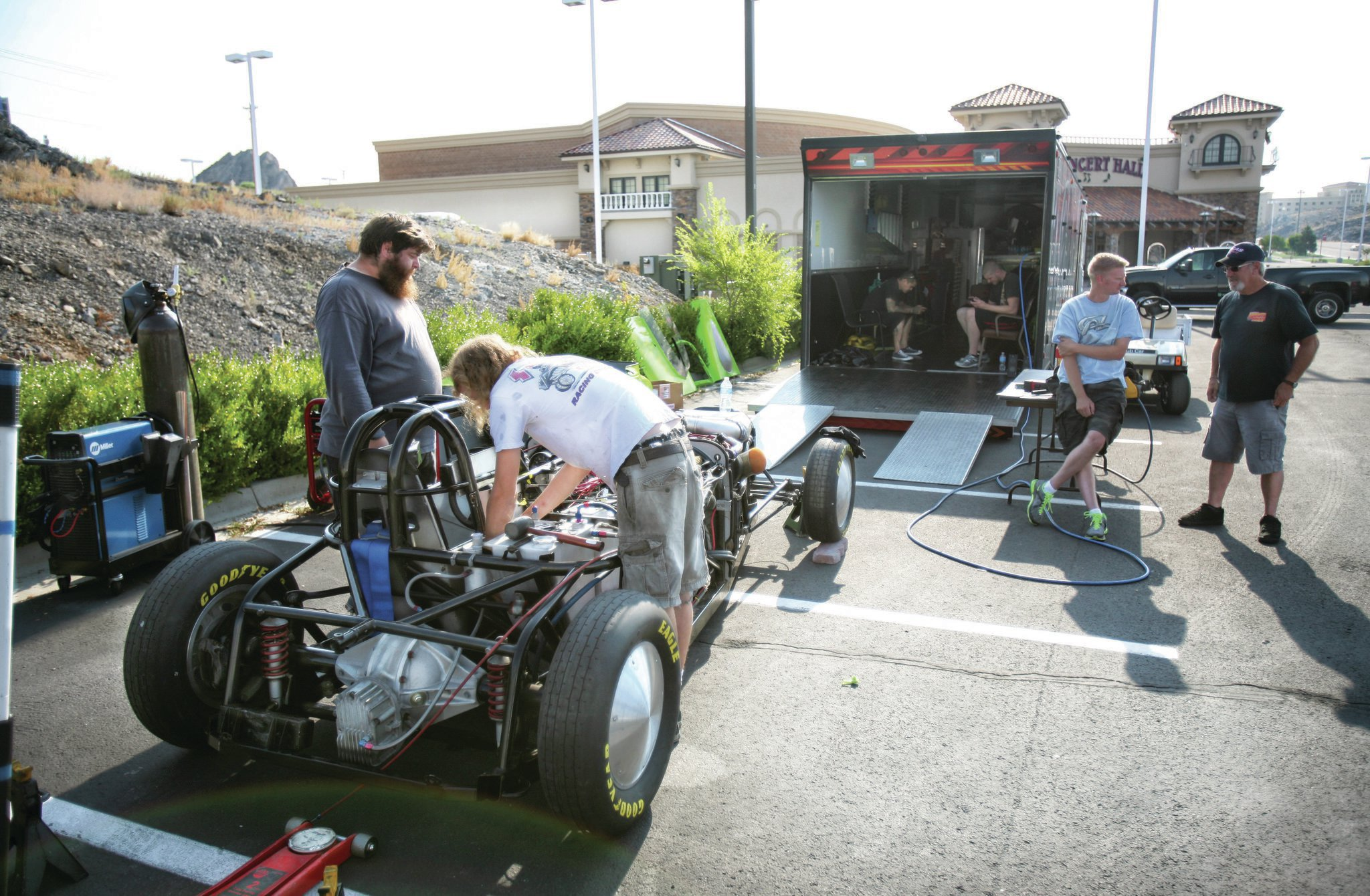 We were with Andy Leach, Eric Hanson, Sam Kita, Eric Zouch, and the rest of the crew from Cal Creations when the word came through that Speed Week was canceled. The team had traveled 1,000 miles with hopes of getting several members of the crew licensed.