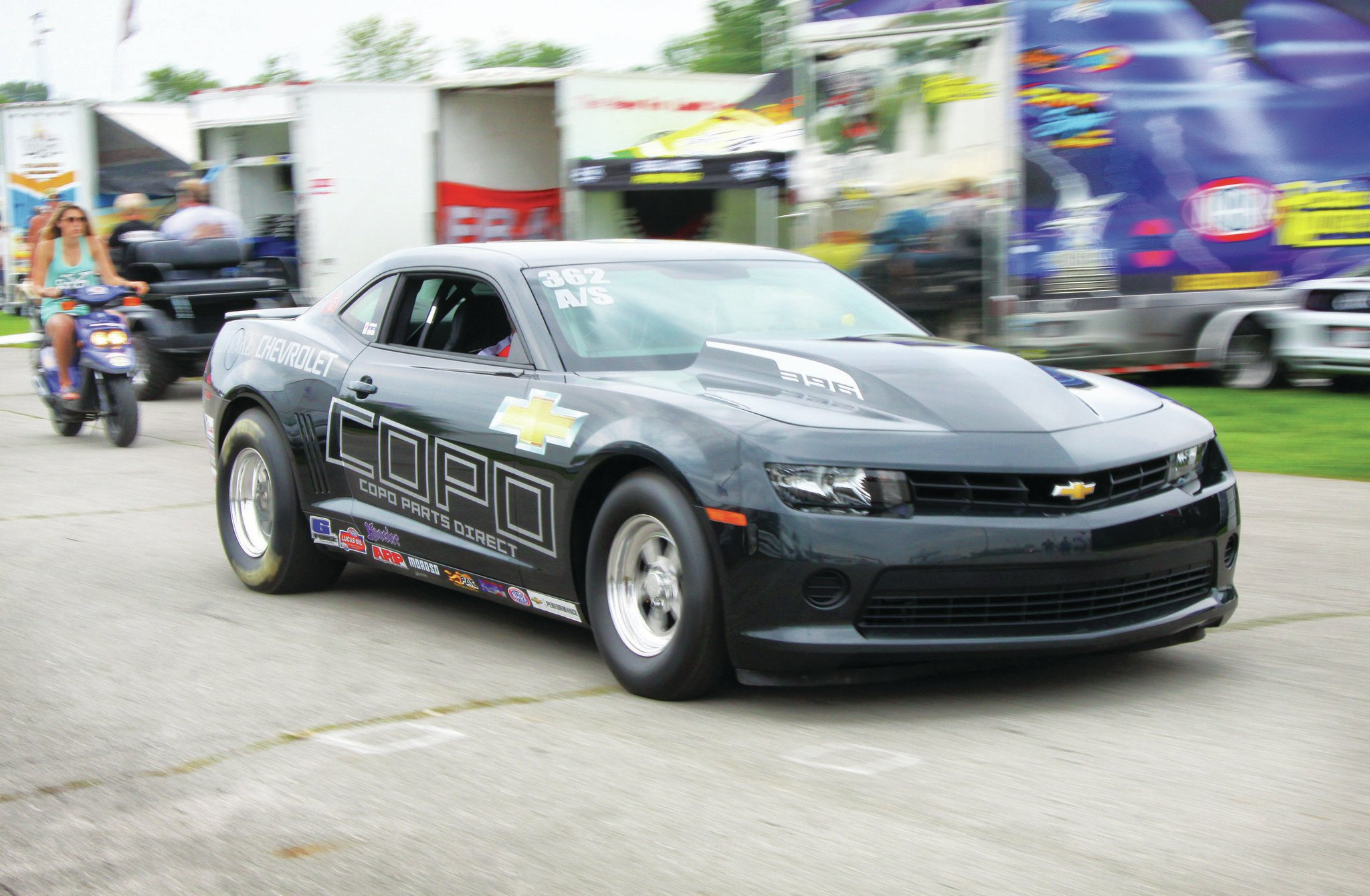 "If brand competition isn't your thing, maybe you'd pick sides on the stick vs. automatic debate. We saw plenty of three-pedal cars in the Sportsman ranks, but gear jockeys were rarer amongst the Factory cars. Rich Rinke of Turnkey Automotive races a 2014 Camaro in A/S, and he says he's the only COPO driver with a clutch. ""A manual is not for the faint of heart,"" he said. His car runs a G-Force trans with a McLeod clutch, and he won his class with a best e.t. of 9.61."