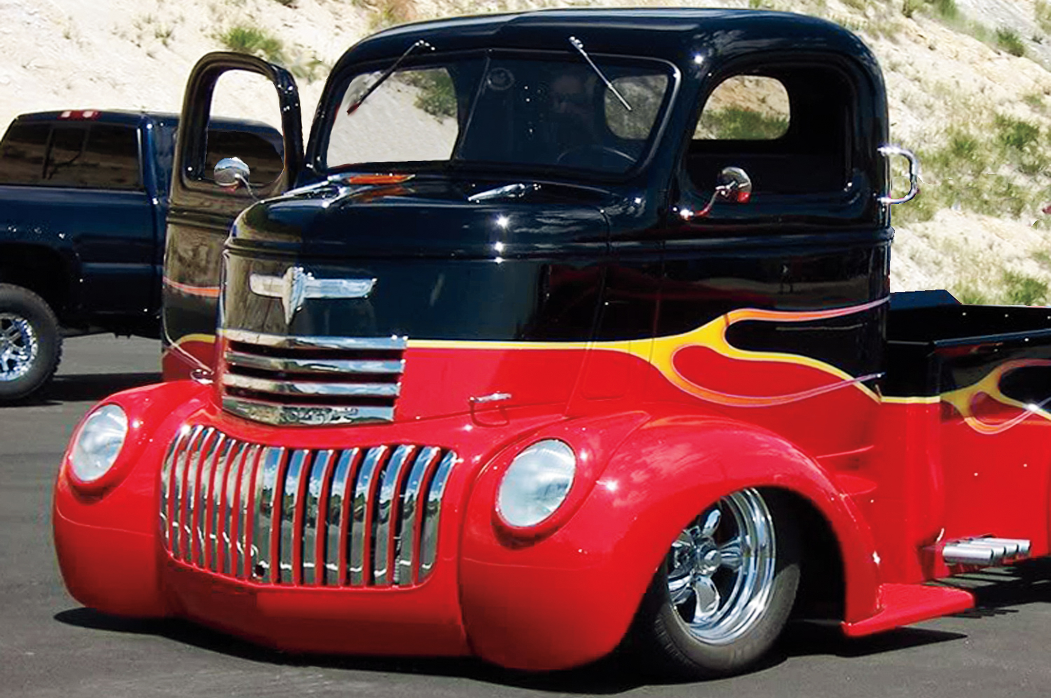Read how to make a patch panel for the peaked center of the roof on a truck like this '46 Chevy COE.