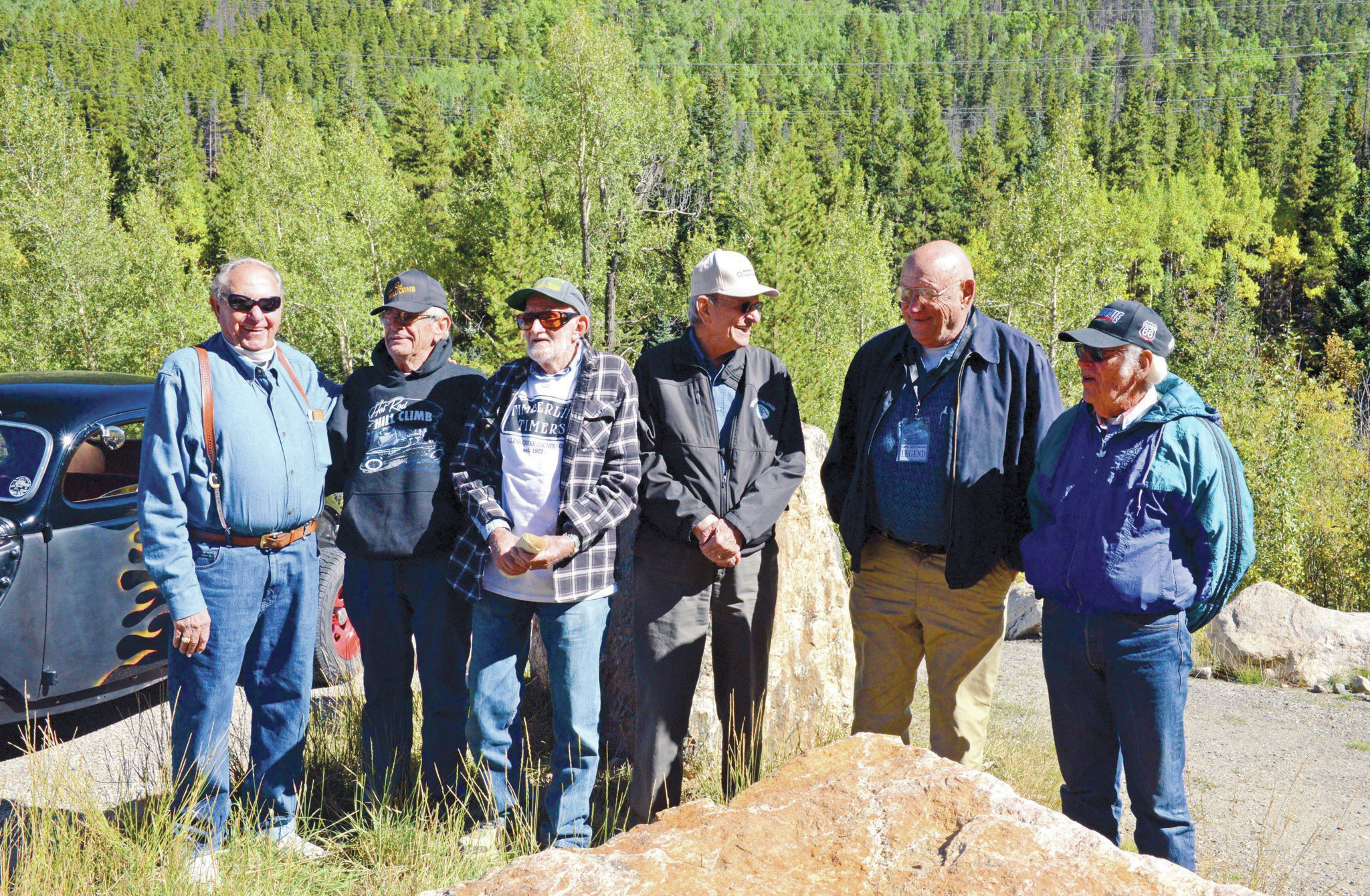 Several rodders who were at the HRHC in 1954 returned this year, including (from left): Vern Holmes, Cal Kennedy, Tom O'Donnell, Duayne Nusbaum, Jim Nielsen, and Reo Zentz.
