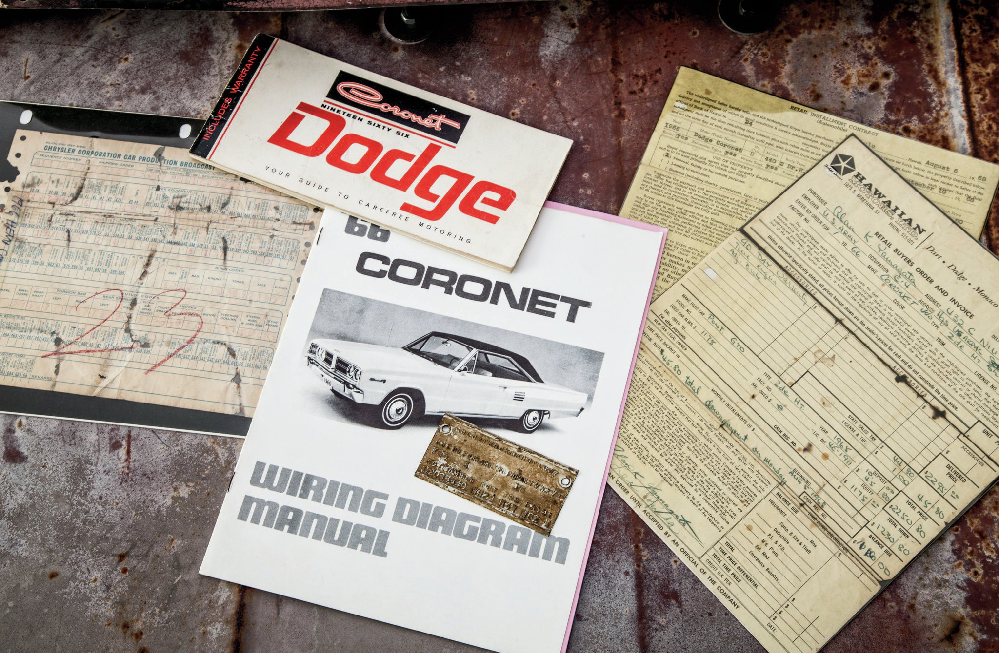 The previous owner also had a stock of original paperwork for the Coronet, including the original sale invoice showing a delivery price of $2,295. A '65 GTO was traded in as part of the deal.