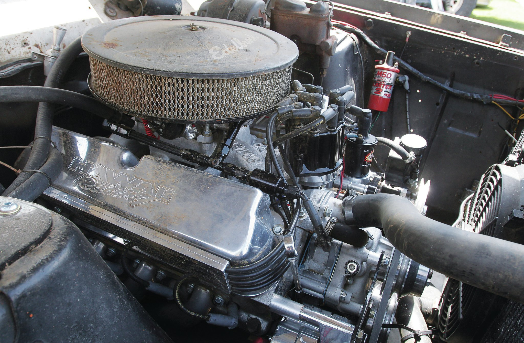 It's dirty because Roadkill, but under that grime is a 340-horse Ford 302 from Hawaii Racing coupled to a Level 4 C4 from Gearstar. It's a mild roller-cam build topped with Edelbrock E-Street Aluminum heads. Joe Souza at Hawaii Racing assembled the mill with a full set of pulleys and brackets, which solved some problems from the previous engine swap. Never underestimate the importance of a matched accessory set. Plans are in the works for power steering. The boys are going to be spoiled!