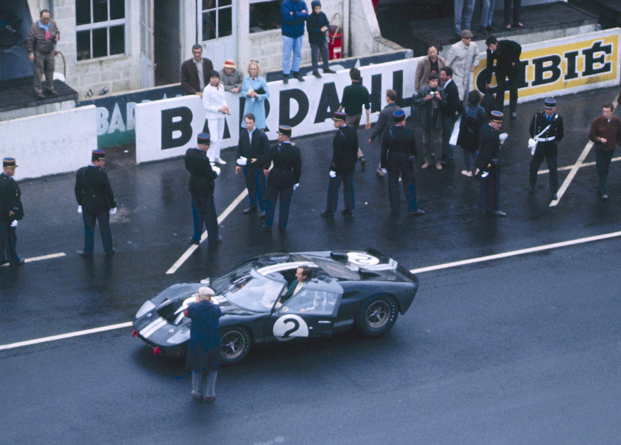Ford swept the 1966 LeMans with a one-two-three victory led by this GT40 driven by Bruce McLaren and Chris Amon. That's Amon in the car just after the win.