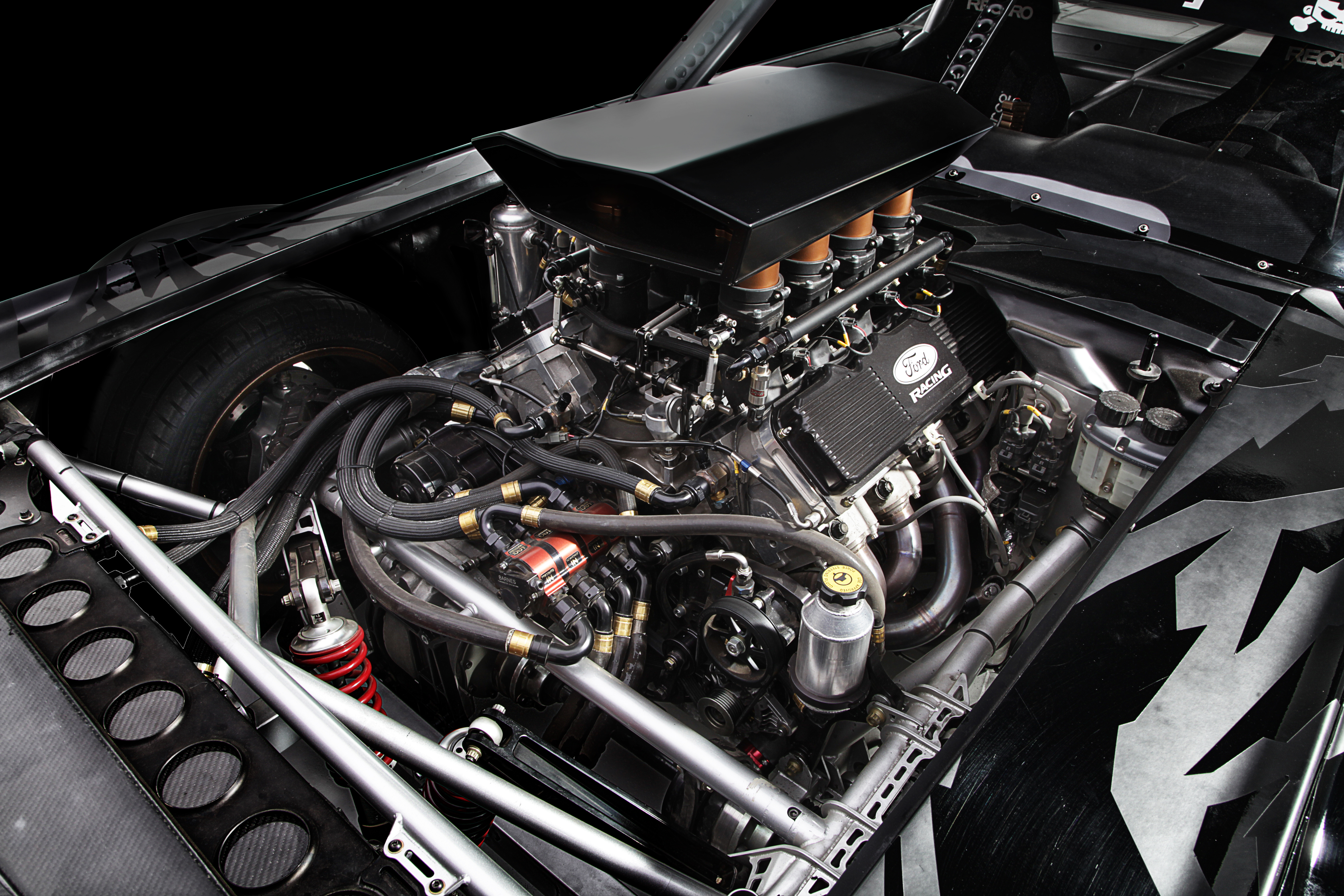 When Block chose to build an all-wheel-drive Mustang a Roush Yates built 410ci Ford small-block topped with Roush Yates D3 cylinder heads was used instead of a turbo four-banger.