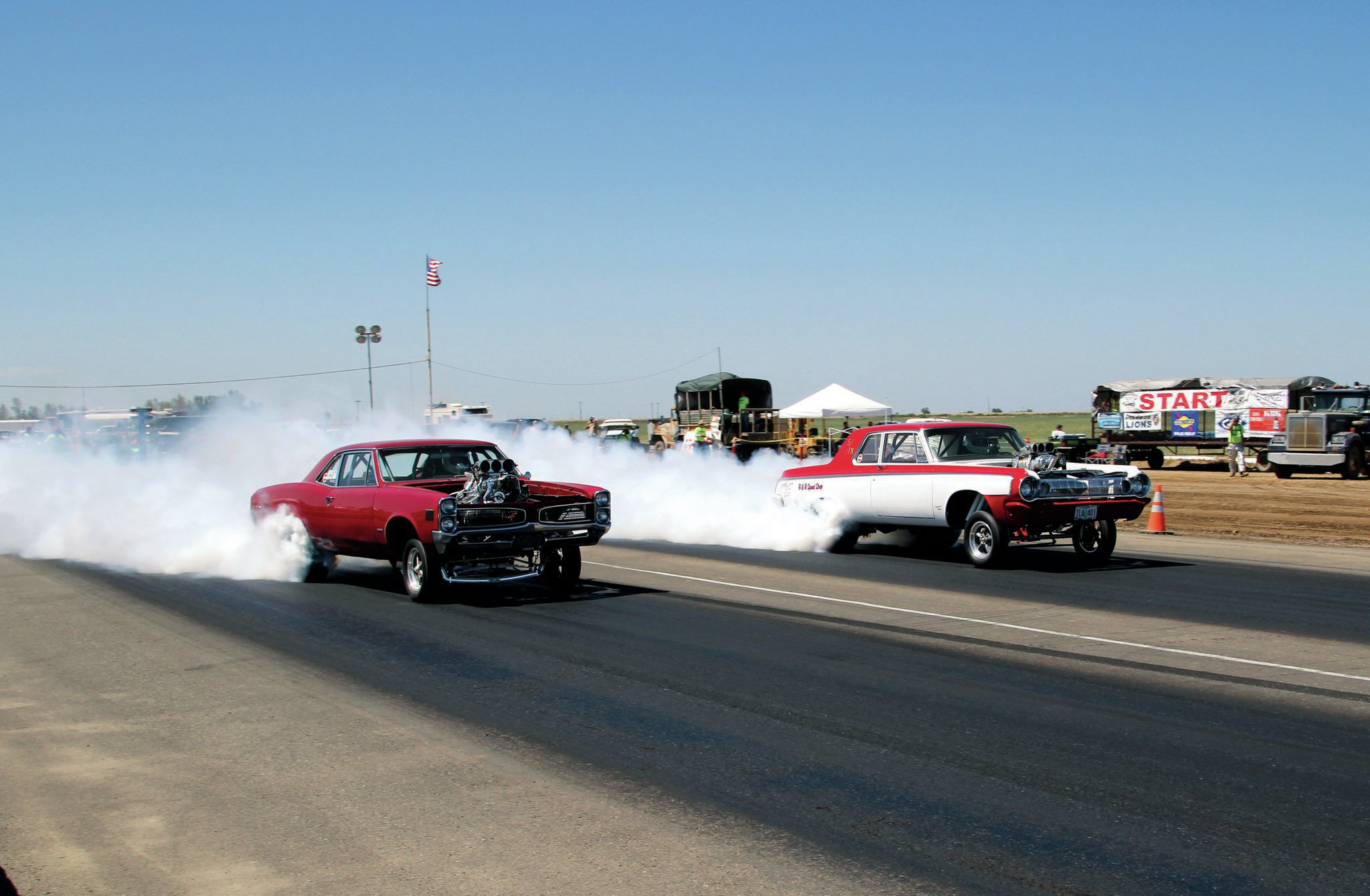 Adam and Justin Brenneman, who own B&B Speed Shop in Albany, Oregon, brought their 170-mph-plus match race monsters to race each other in a best-of-three format. Adam's '66 Pontiac LeMans has more than 1,000 hp, as does Justin's '64 S/FX Dodge. Both cars are built in the style of the early '60s Funny Cars; however, they are both fully certified to compete at today's racetracks.