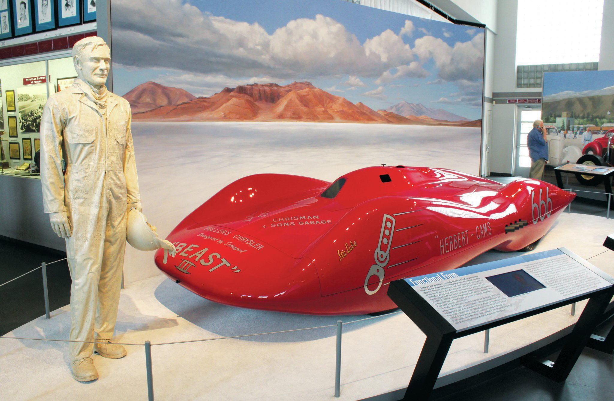 Chrisman again, this time immortalized as sculpture and representing early land speed racing with the Beast III streamliner. In 1952 Chrisman drove the Hemi-powered Beast, built by Chet Herbert after testing a scale model in Cal Tech's wind tunnel, to a 235.991-mph average at Bonneville, making Art a charter member of the Two Club.