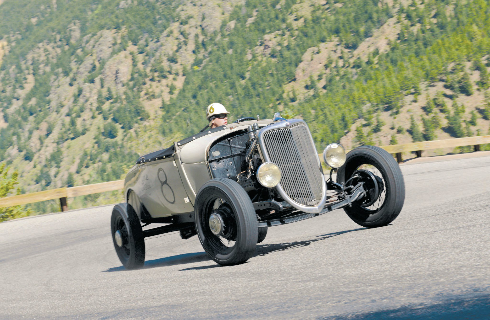 Bryan McCann (Scott's son) took on the HRHC with a vengeance, showing the crowd that the apple didn't fall far from the family tree. He blistered up the incline in his Deluxe Speed Shop–built '28 roadster, powered by a '49 239ci flathead topped with a Weiand intake and Fenton heads. All that power is sent to a vintage sprint car quick-change rear.