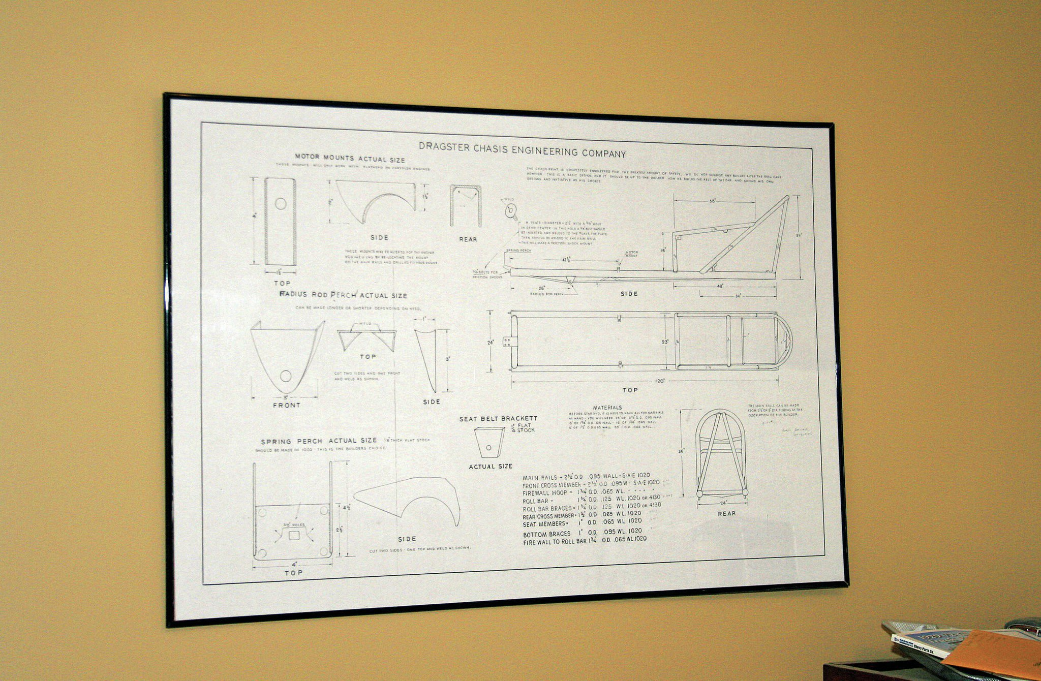 A couple years ago, we bought this fullsize reprint of a Dragster Chassis Engineering Company blueprint that you could mail-order in the late '50s. We got the print from our friend Rich Venza, framed it, and hung it in the office. The 78 car was originally a Dave Stuckey chassis, and we learned his designs heavily borrowed from several other manufacturers—particularly Dragster Chassis Engineering. Comparing the photo of the original 78 car to the blueprint, we saw it was about the same chassis, at least from the firewall forward, so we took the blueprint off the wall and went to work.