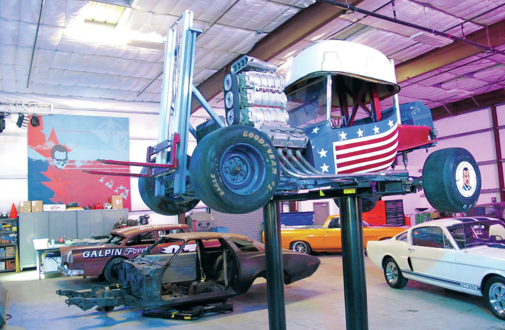 The Hard Hat Hauler, an MPC plastic kit scaled up to 1:1 by Barris and Bob Larivee, was on the rack at Galpin ready for a restoration.