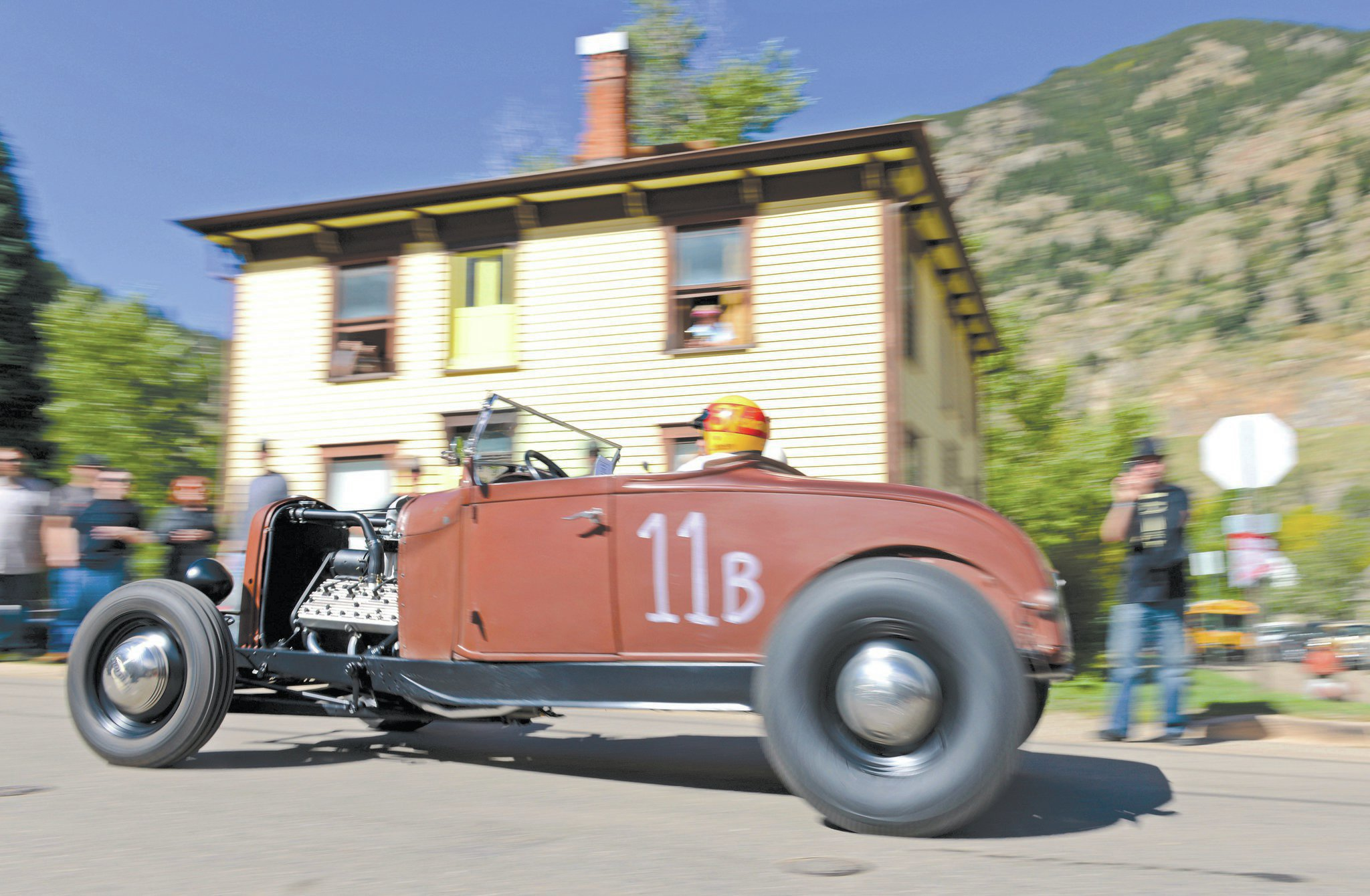 Mark Briggs of Watkins, Colorado, pilots his car down Rose Street on his way to the first 90-degree turn at the base of Leavenworth Mountain. His '29 roadster is built on a '32 frame and equipped with a 59A flathead with Sharp heads, a Thickstun intake, a '39 trans, and an early Halibrand quick-change rear.