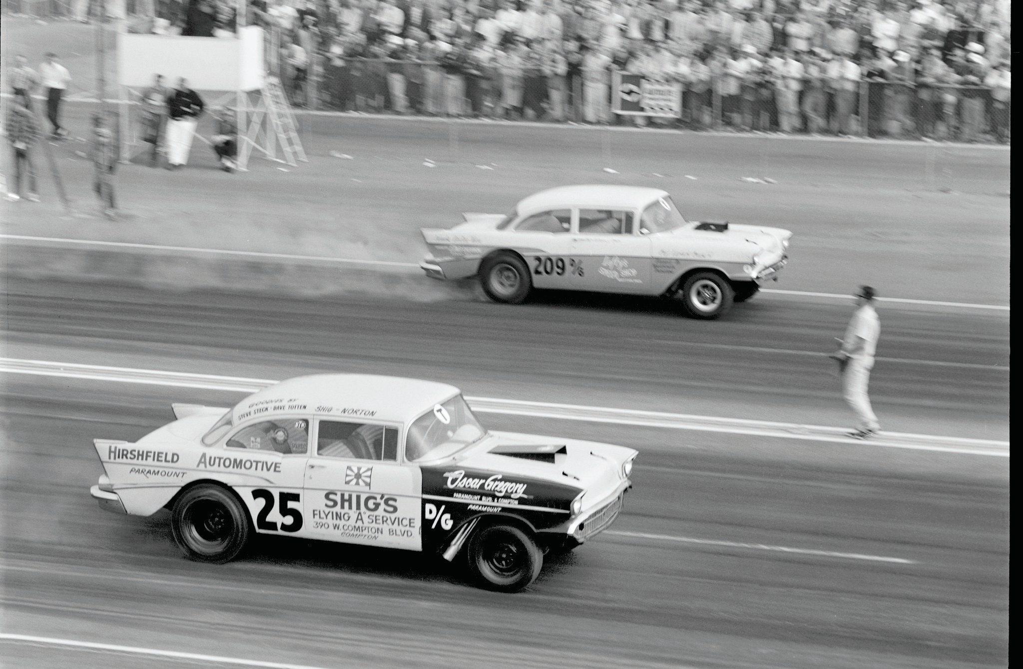 The stylish '57s were the least-popular shoebox-Chevy gassers, for some reason, and we can't identify either in this rare pair (help, readers?), but the previously unpublished shot is too cool to leave lying on the cutting-room floor for another half-century.