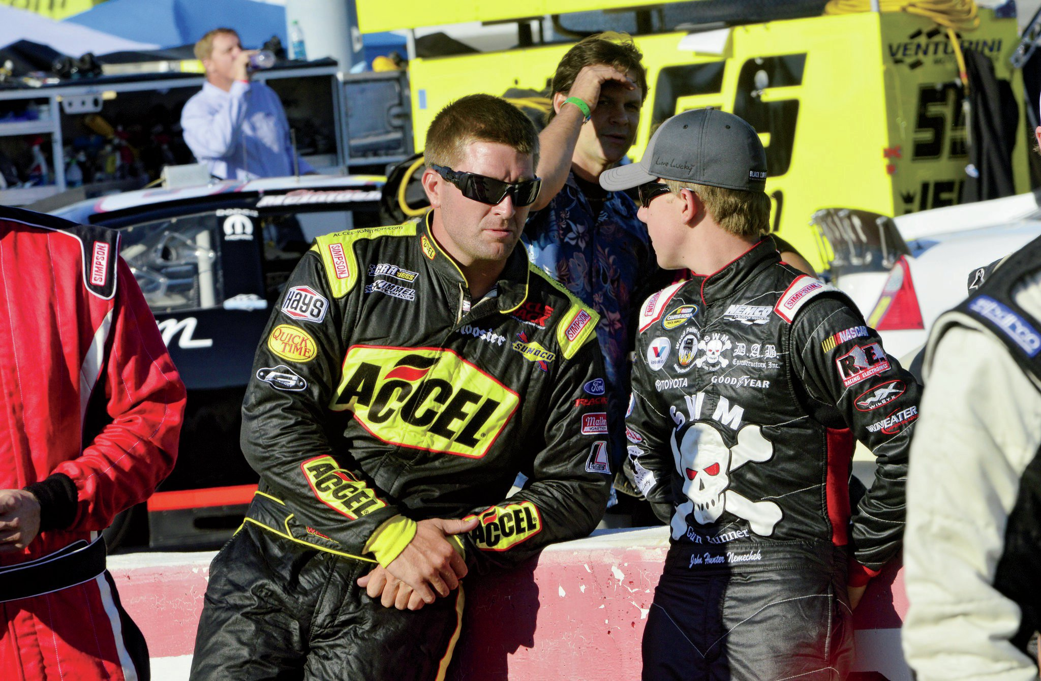 Prior to driver introductions, Will talks with John Hunter Nemechek. The 17-year-old son of Joe Nemechek would wage a fierce battle with Kyle Busch over the last 43 laps of the race for the win. At the line it was the veteran besting the youngster by a scant 0.024 seconds.