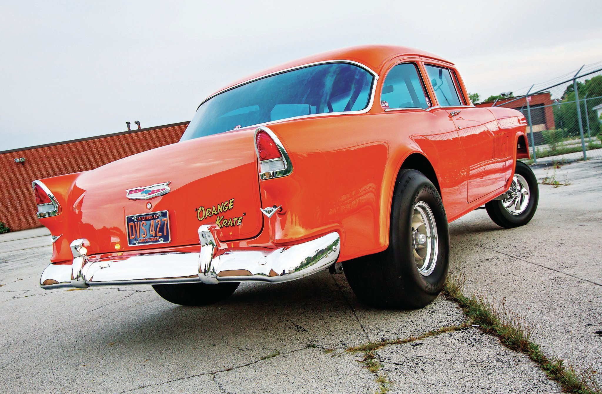 The classic 1955 Chevy sedan rear is highlighted by radiused wheel openings done some time in the 1960s. ET wheels are reminiscent of the rare gusseted American Torque Thrusts of the mid-1960s. California one-piece bumpers and blue-tint windows harken back to the West Coast gasser wars.