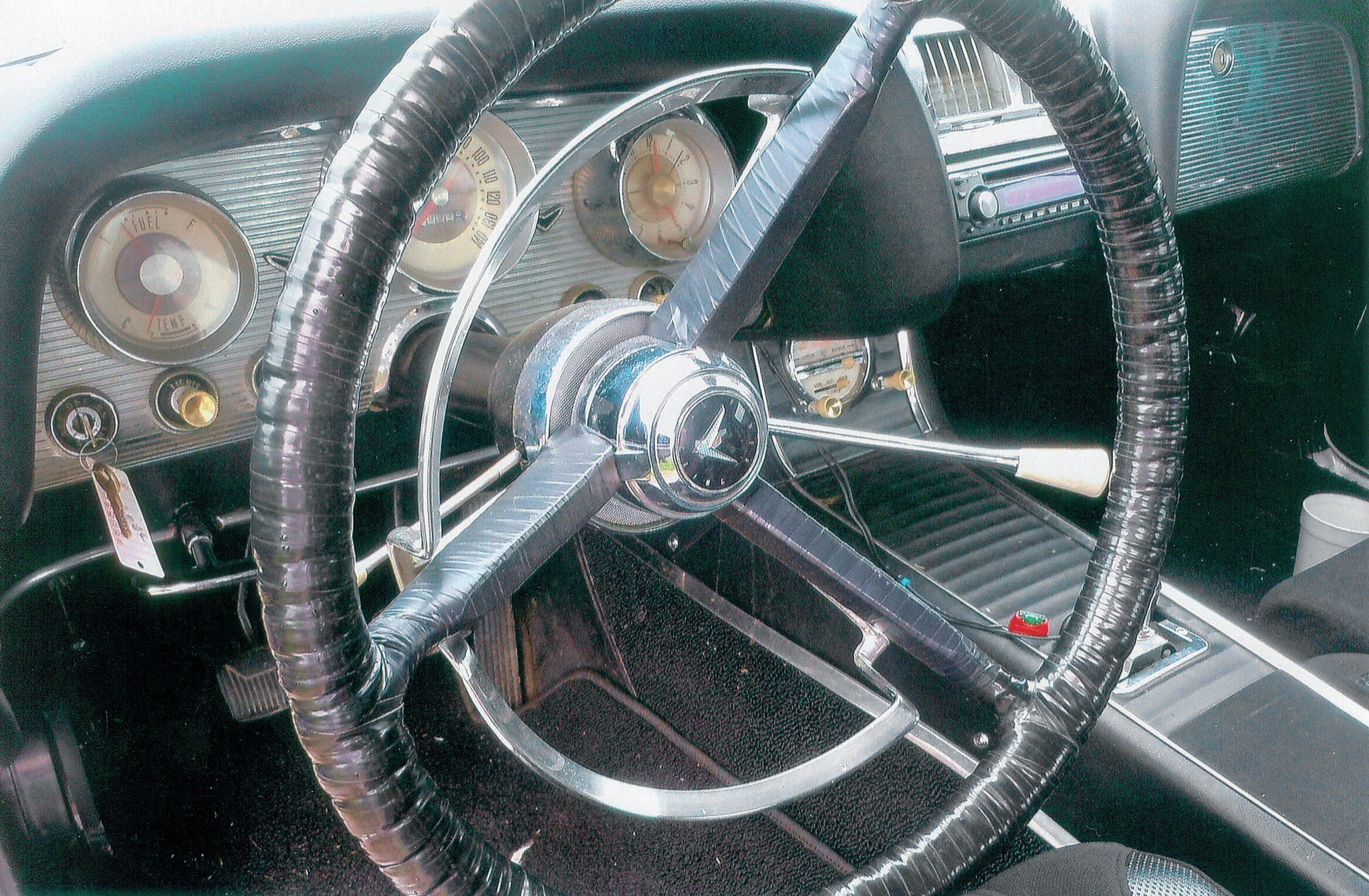 Like the outside, the inside is very much on the stock side. Notice the shifter on the steering column. The interior was completely gutted and a sturdy rollcage installed. The main bars were 13/4 inch in diameter.