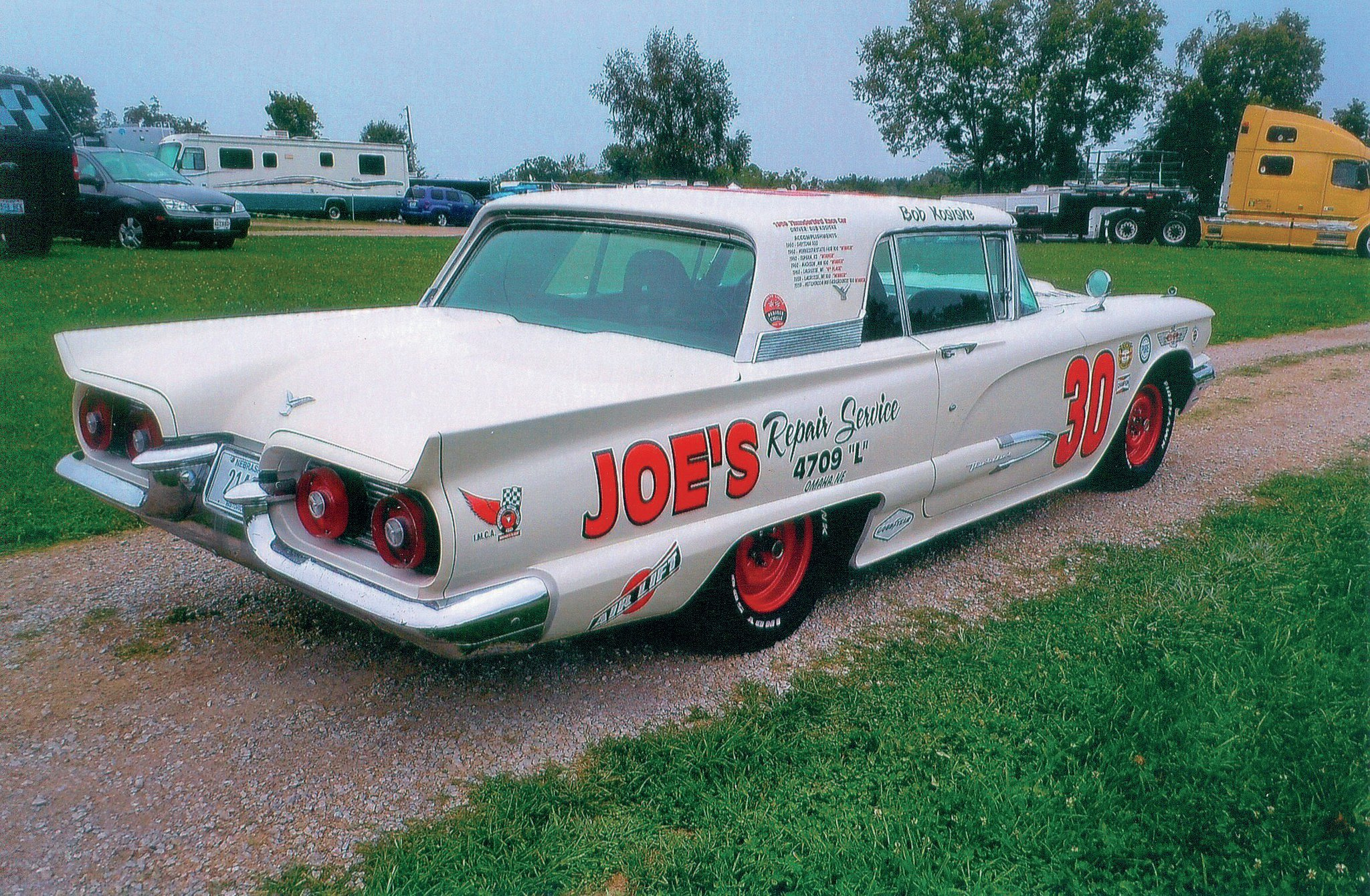 You seldom see a race car with tailfins, but that was the case here.