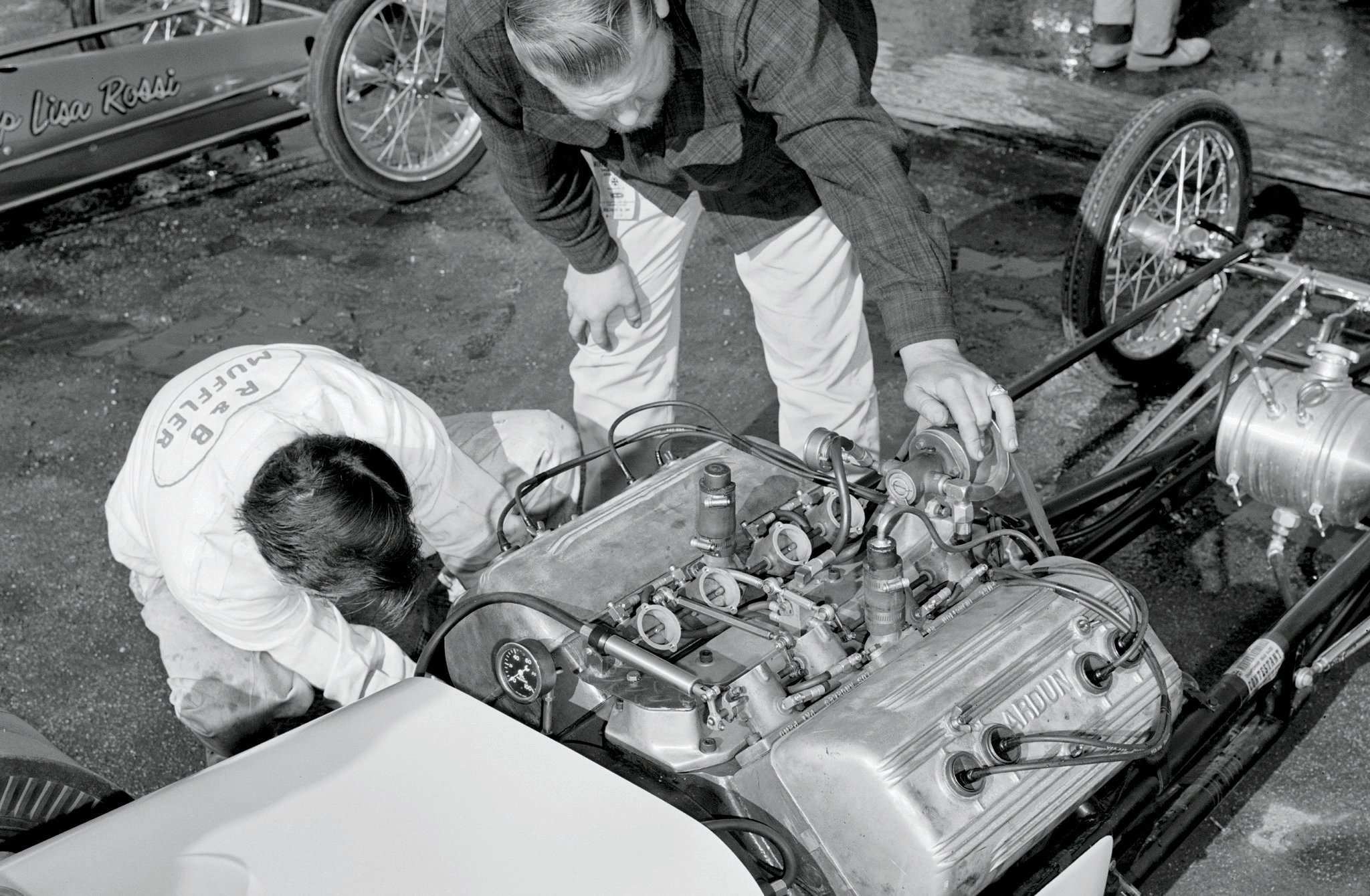"""Motor Trend's film archive surprised us with not one, but two examples of Arduns in open competition at Pomona. What we cannot locate are published records of either the injected digger or blown Fiat coupe. The best guesses of our usual sources identify the owners as Joe Bagoshian and """"Dirty"""" Eddie Potter, respectively. (Help, readers?)"""