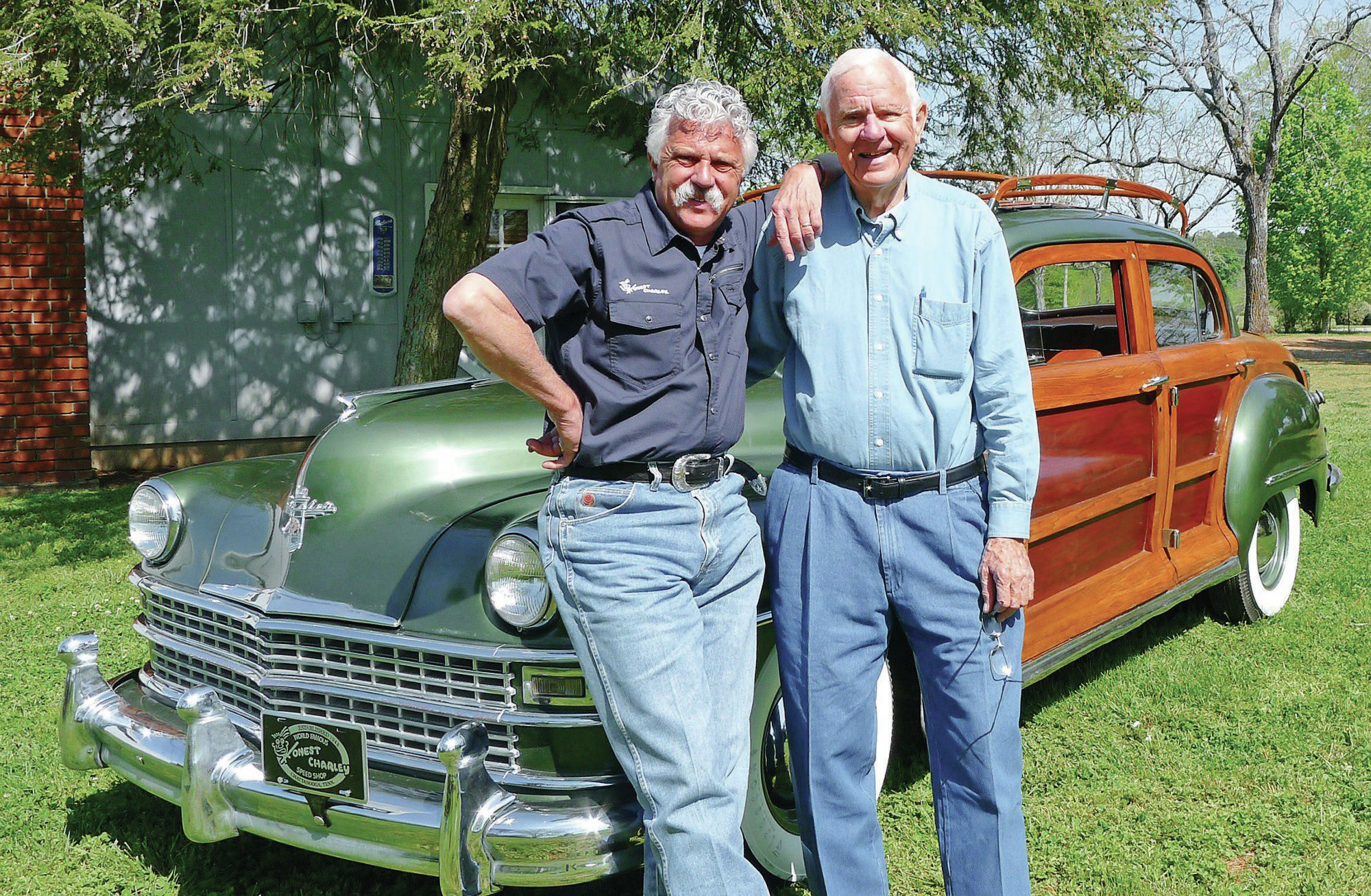 Corky Coker (CEO of Coker Tire Company) and Harold Coker along with the recently revived '47 Chrysler wagon originally restored by Harold in the early '70s.