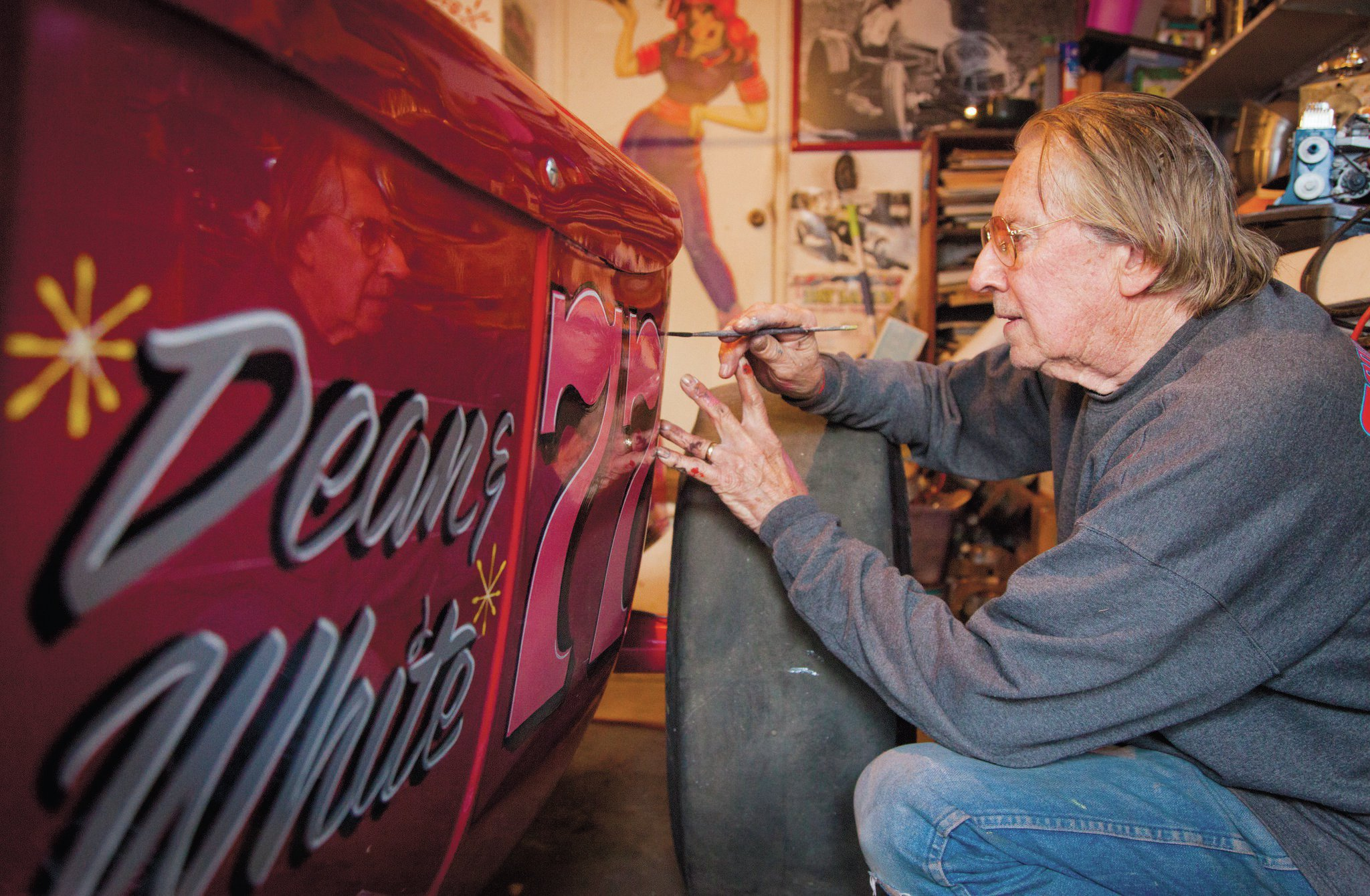 Racer, fine artist, and striper Bob McCoy came out of retirement to letter and stripe the bucket—just as he had done in the '60s. Sadly, he passed away in September, making this the last car he lettered.