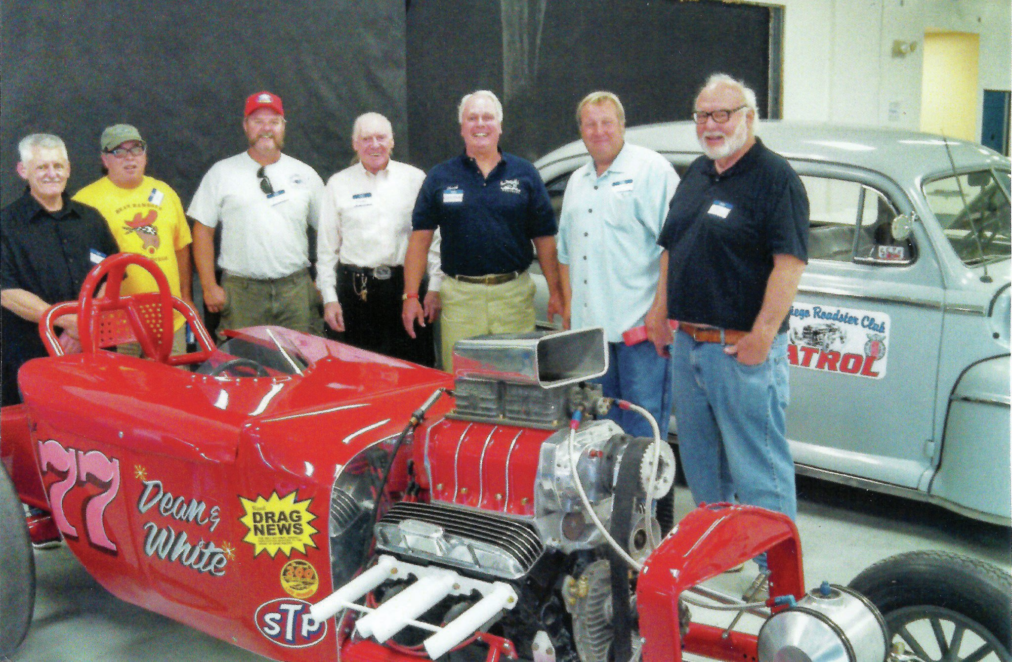 The altered's unveiling took place at the San Diego Roadster Club's annual banquet last spring. Many of those who had a hand in its rebirth were there to celebrate. From left: Rick Peterson, Jeff Arnett, Bill Lattin, Richard Lux, Chuck Edwald, Shawn Killion, and Jim Lattin.