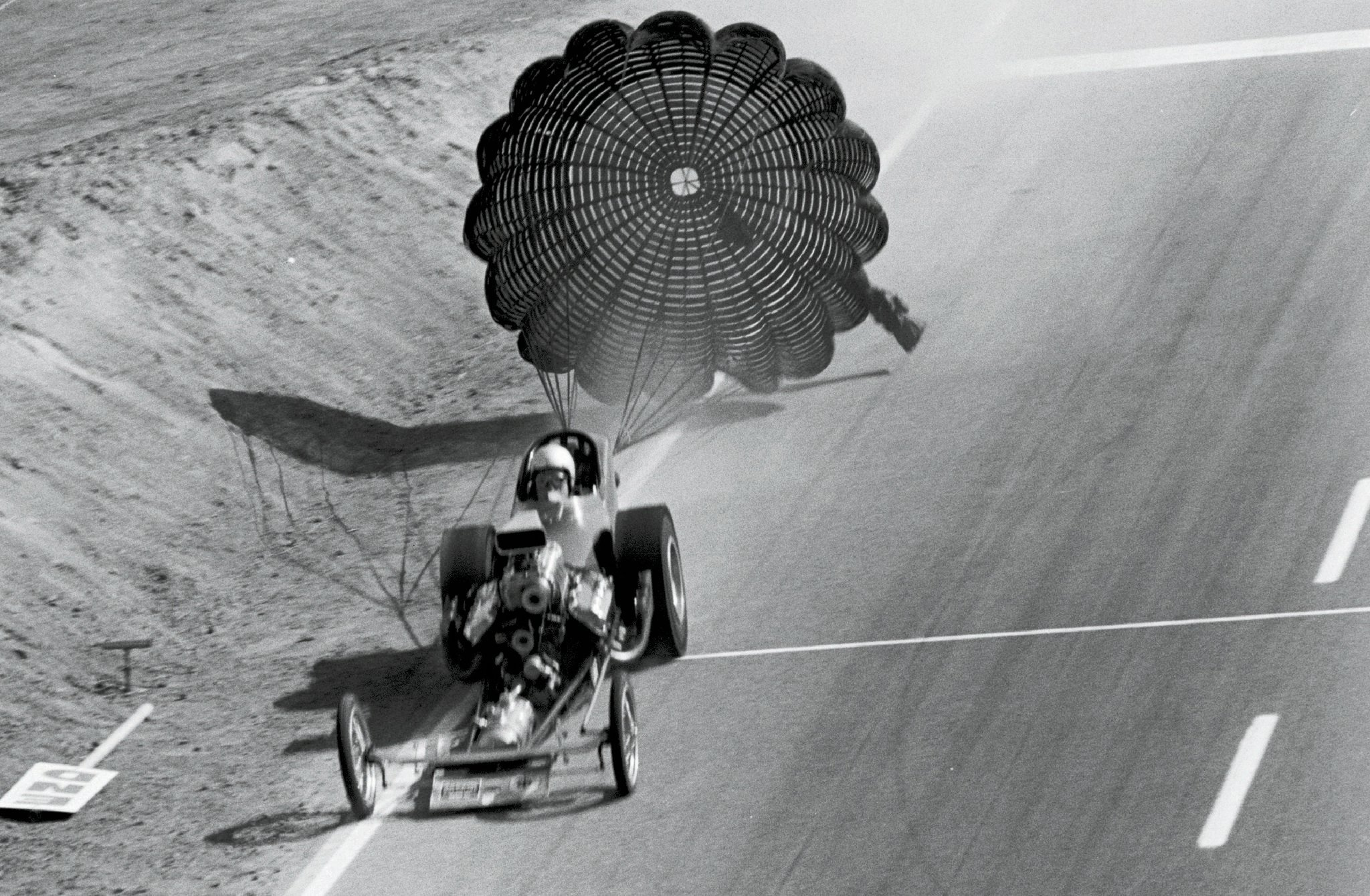 """Winternationals Top Fuel Eliminator Jack Williams narrowly survived this off-road excursion during qualifying for Riverside Raceway's Hot Rod Magazine Championships, then won the inaugural event. (Note the already-downed """"END"""" sign next to the finish-line photocell.) Three months later, the red-hot Crosley, Williams & Swan fueler runnerupped at Indy's Nationals to clinch NHRA's first-ever Top Fuel points title."""