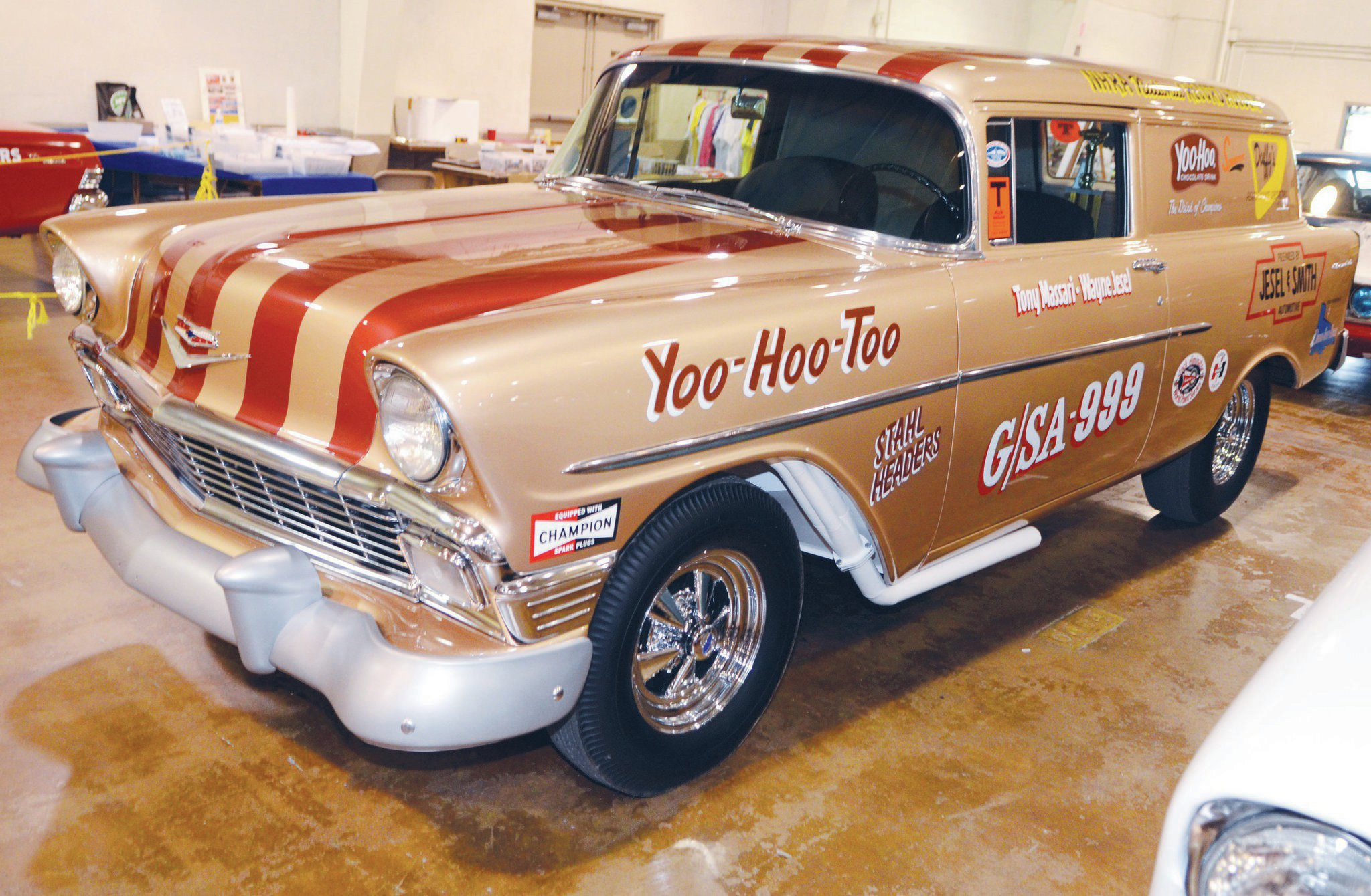 Wayne Jesel put in the hours and effort to have his Yoo Hoo Too tribute to the era ready for the event. He didn't get everything done on the vehicle (which he raced with his brother Dan) until just before leaving home. The effort was rewarded by People's Choice honors. The car is one of the most exacting restorations of a Junior Stocker, complete with a 283 V-8 featuring dual WCFB carbs. Wayne also had some of the original trophies on display.