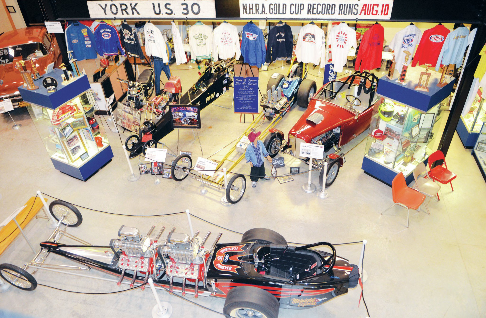 Looking down from the second level, this is a portion of the drag racing hall and engine room. The museum showcases numerous original and frankly quite priceless artifacts, including the world's largest collection of material from Altoona's board track, fastest of the '20s racing era.