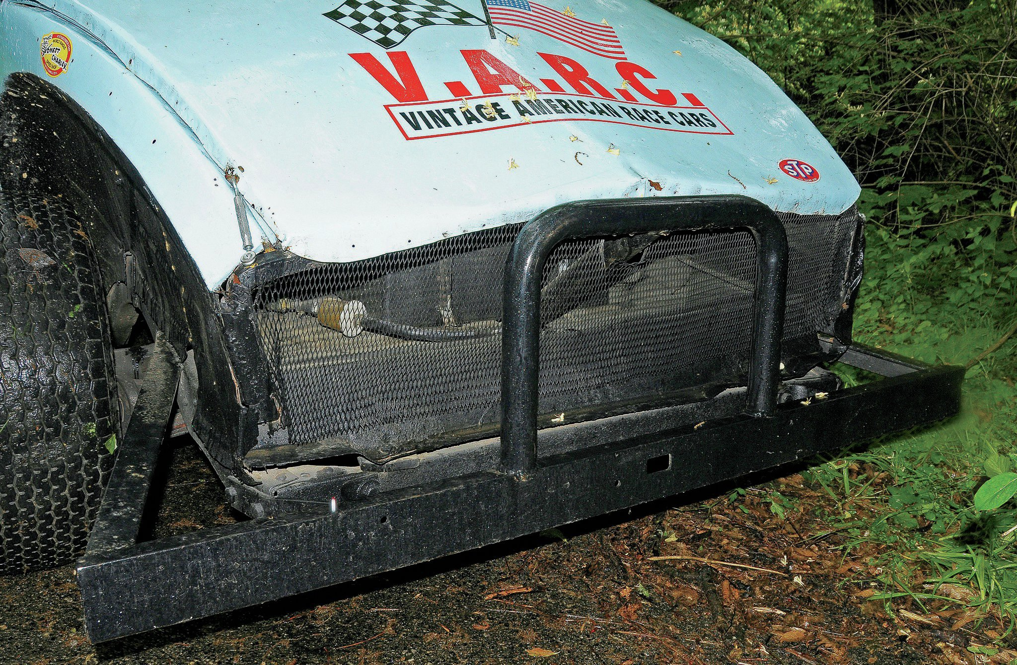 The rearend of this car has been shortened about 6 inches, allowing for a vertical screen to be installed, which allows an exit for air passing through the body.