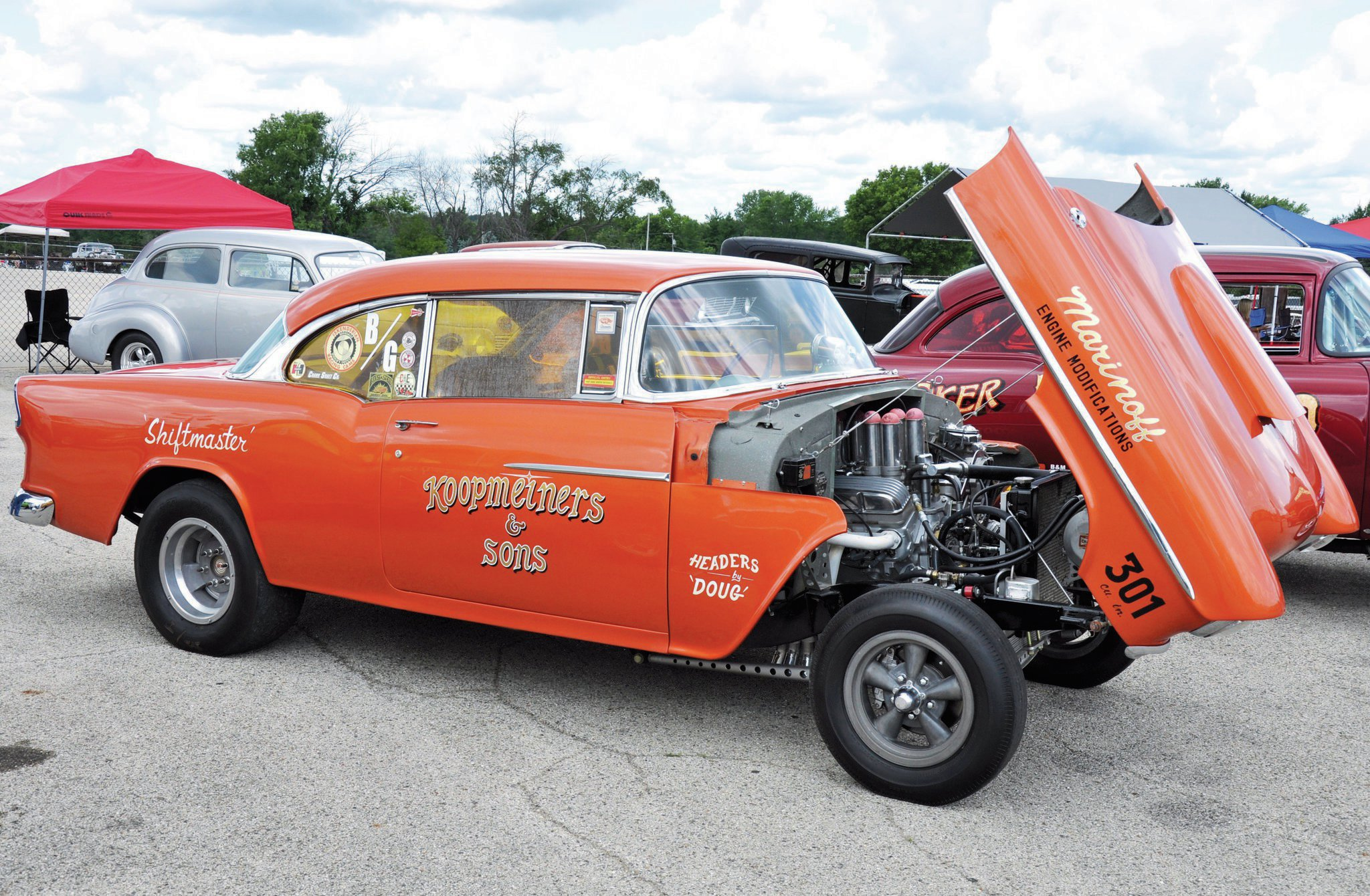 "Tilt front end and family involvement are the story behind this '55 gasser owned by Eric Koopmeiner and sons. Eric is one of the members of MDA who put together the Meltdown Drags. The entire MDA team is to be congratulated for putting on a stellar event that is now on the ""can't miss"" list for 2015."