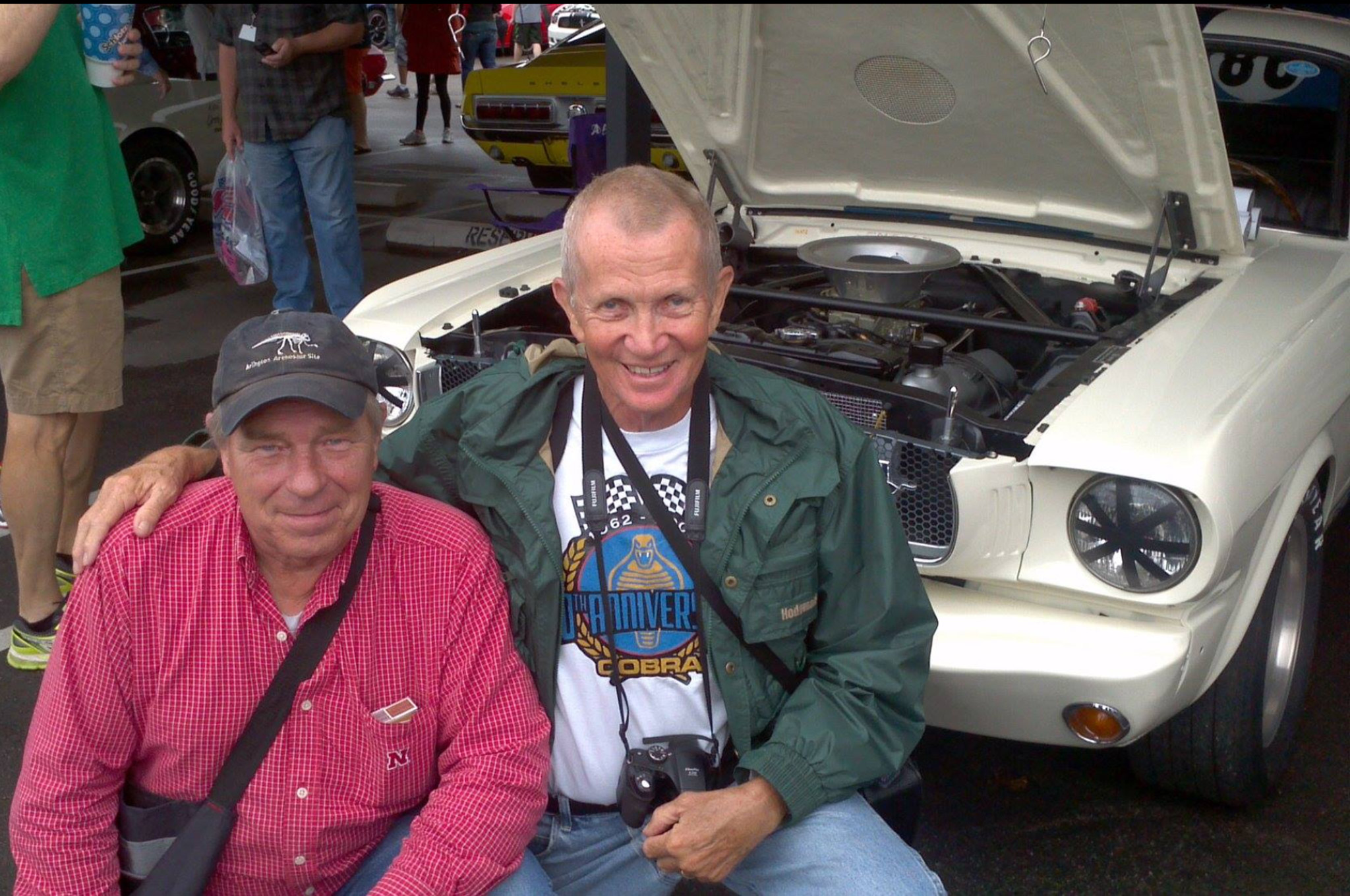 Our two Green Valley participants and story-tellers as they appear today. Art Sahlstein on the left, and Glenn Alford on the right, in front of 5R002 at the Mid America Tulsa car show in 2014.   (Art Sahlstein photo)