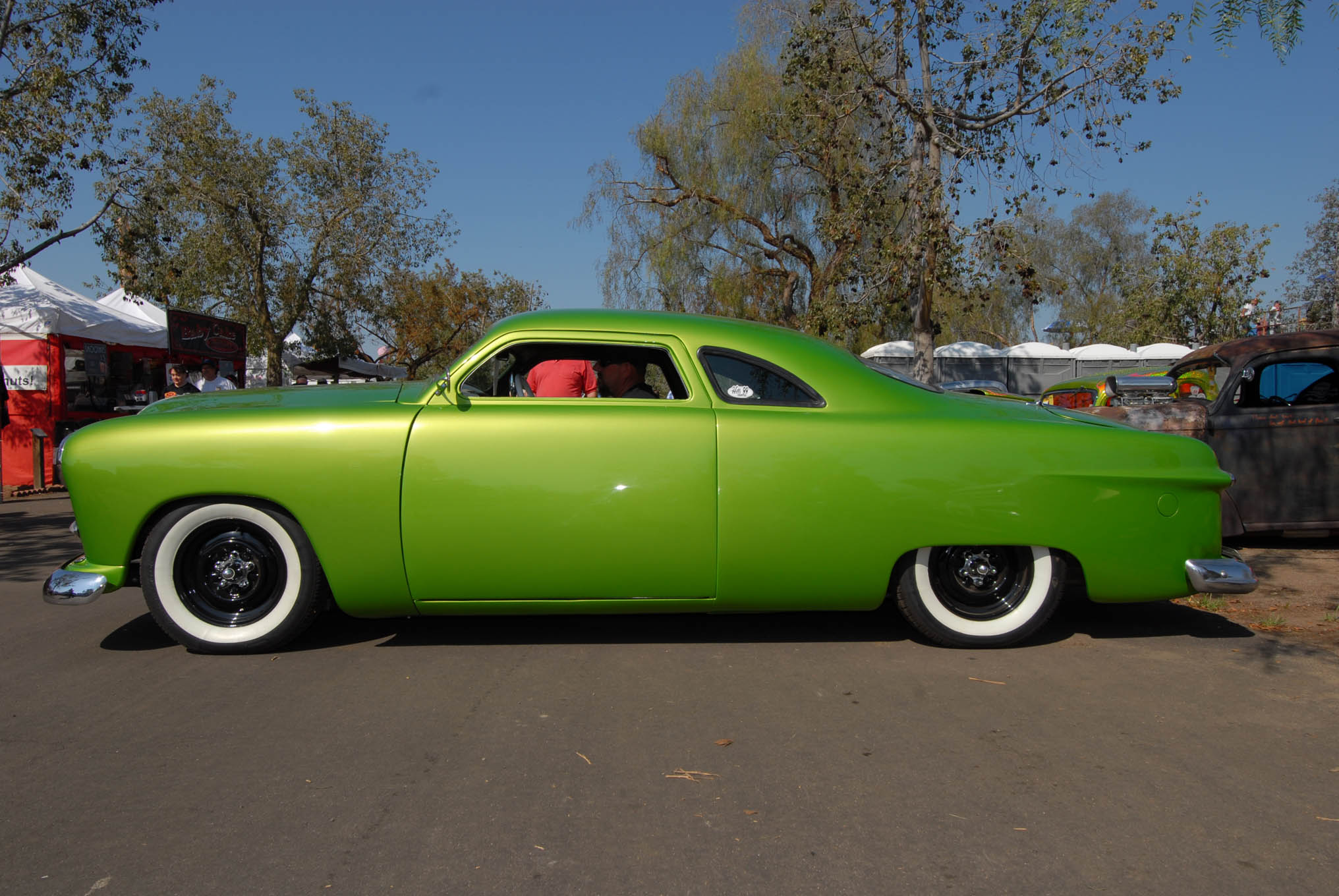 If your dad ran a Hudson at Bonneville and named you Race on the birth certificate, chances are you grew up to be a gearhead. Race Slayton, now 42, acquired this '49 business coupe in painted pieces from builder John Salazar, who lost interest after the death of his 23-year-old son and helper. Laying down the stock rear window helped blend John's 6-inch-chop job into the body. Race raced to the rescue and put the whole puzzle together, adding a small-block Chevy and Turbo 350.