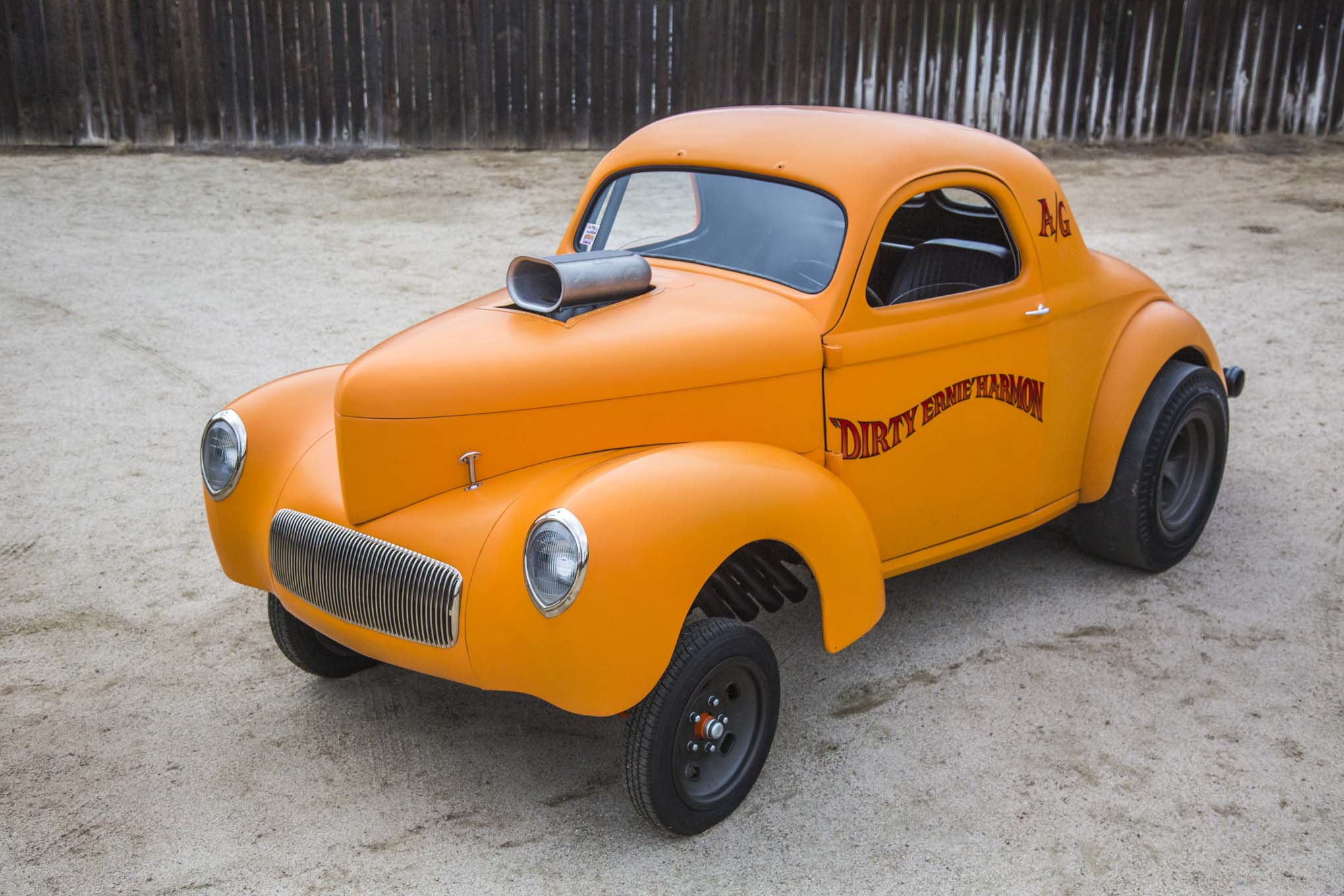 """Ernie built his '41 Willys """"because I always wanted one."""" The matte Popsicle color makes the car look like a reproduction, but this is real steel."""