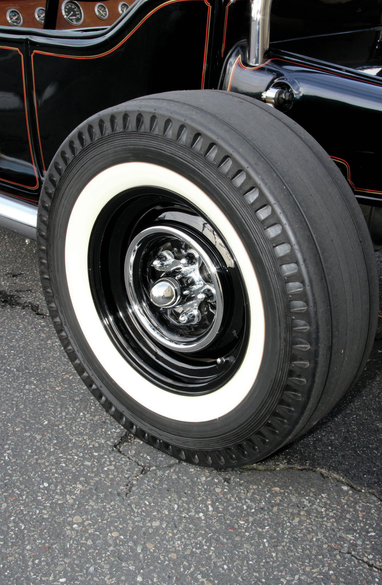 """When Marcus got the T it had slotted aluminum wheels that John put on in the '80s. Marcus switched them out for 15-inch Ford steel wheels, which have Towel City cheater slicks on the rear and Firestone Deluxe Champions on the front. """"They just fit better with the looks of the car,"""" says Marcus."""