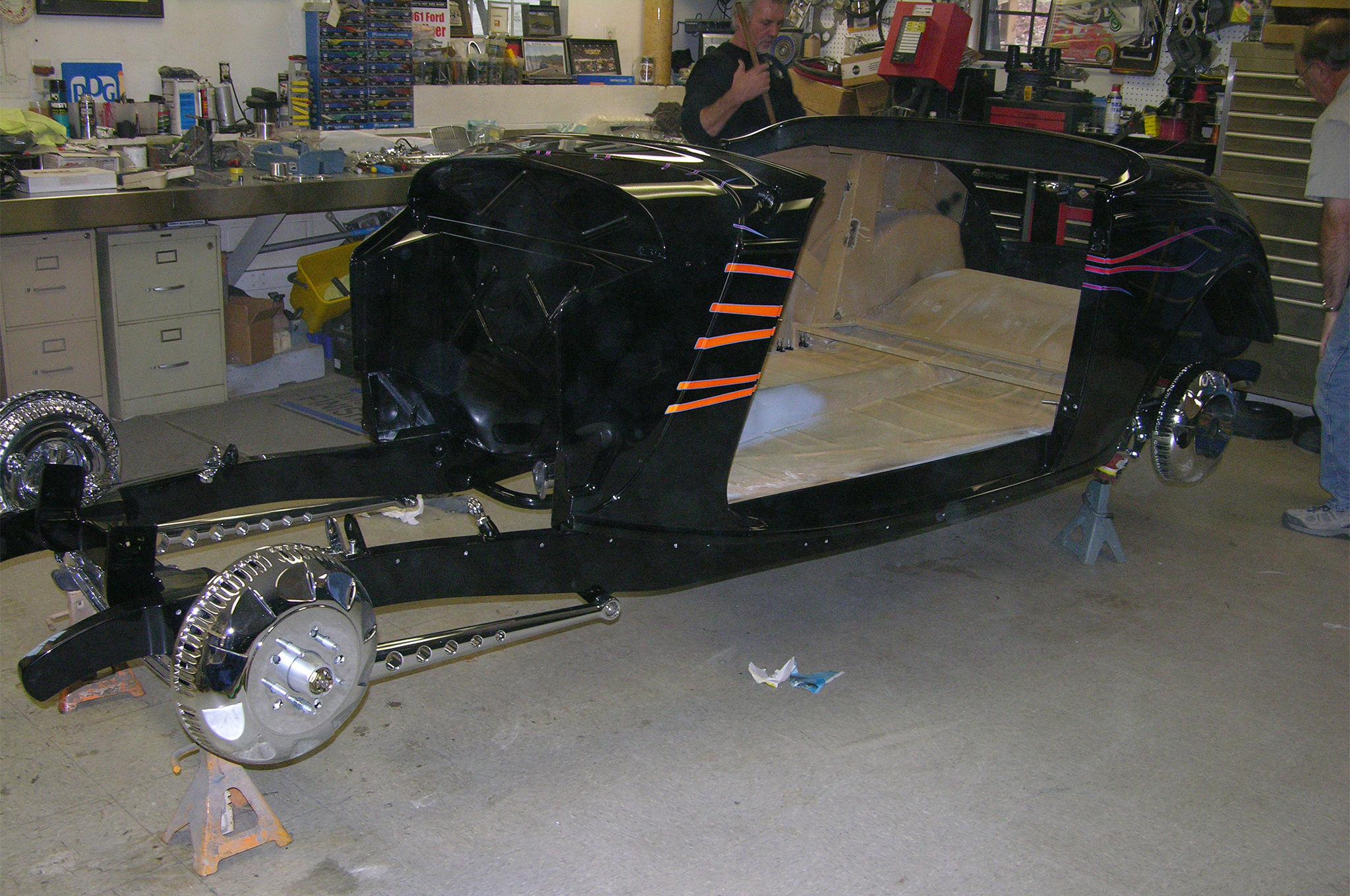 With a little more than a month before the show, the body has been installed onto the chassis.