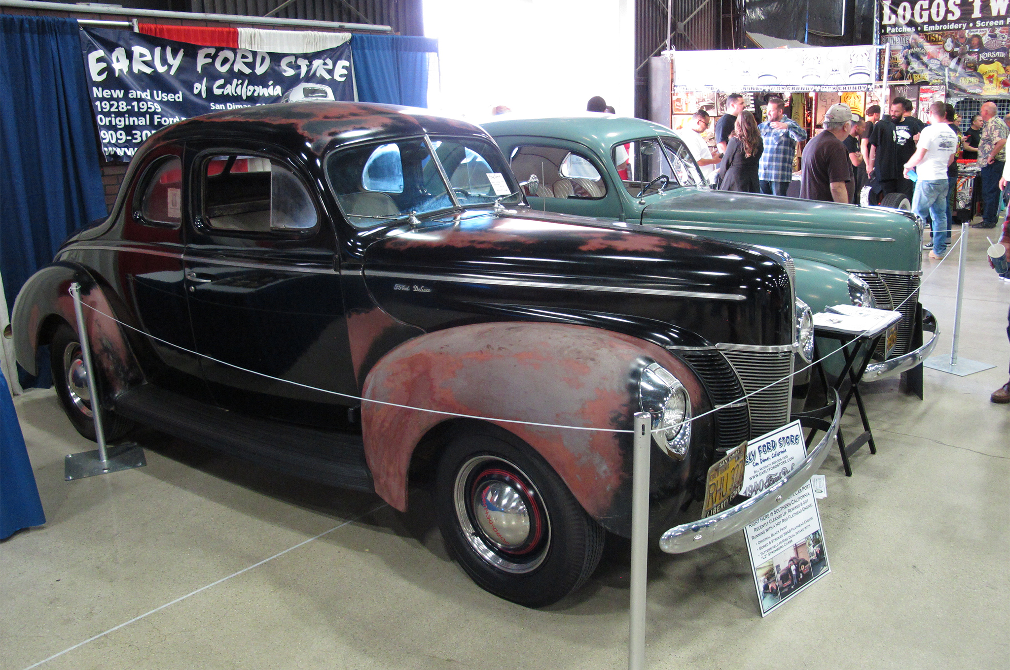 In addition to the special collection of '40 Fords, other '40s were scattered around the show, including these two time capsules brought by the Early Ford Store and parked in the Suede Palace. The green coupe in the background, an untouched early '50s hot rod with an Olds mill and Cad/LaSalle transmission, sold almost immediately. The black coupe, with a mildly built flathead and still wearing original paint, had been parked in a SoCal garage for decades. It was still looking for a home when we left the show Sunday.